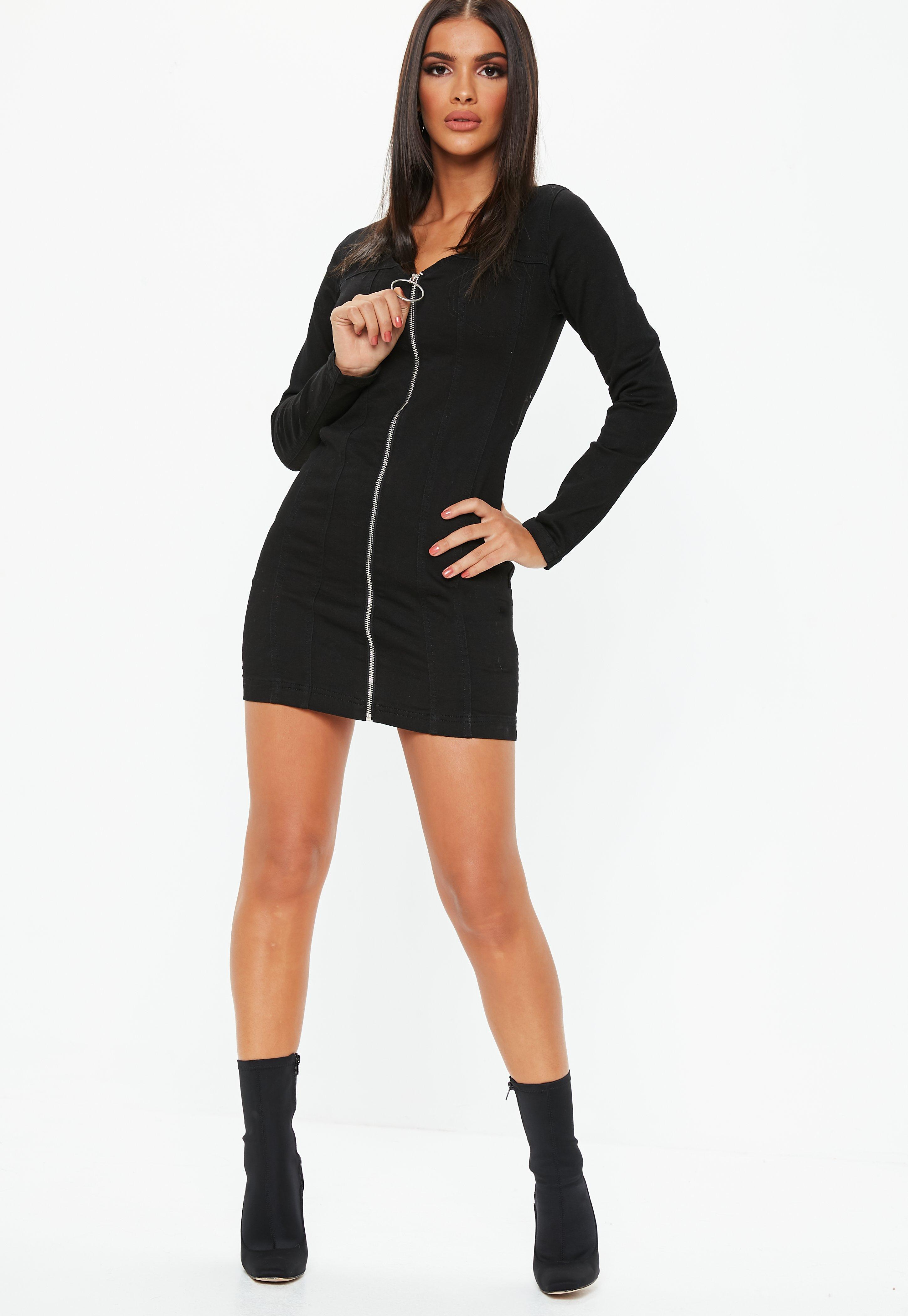7d60ad98cb Missguided - Black Denim Zip Through Long Sleeve Fitted Mini Dress - Lyst.  View fullscreen