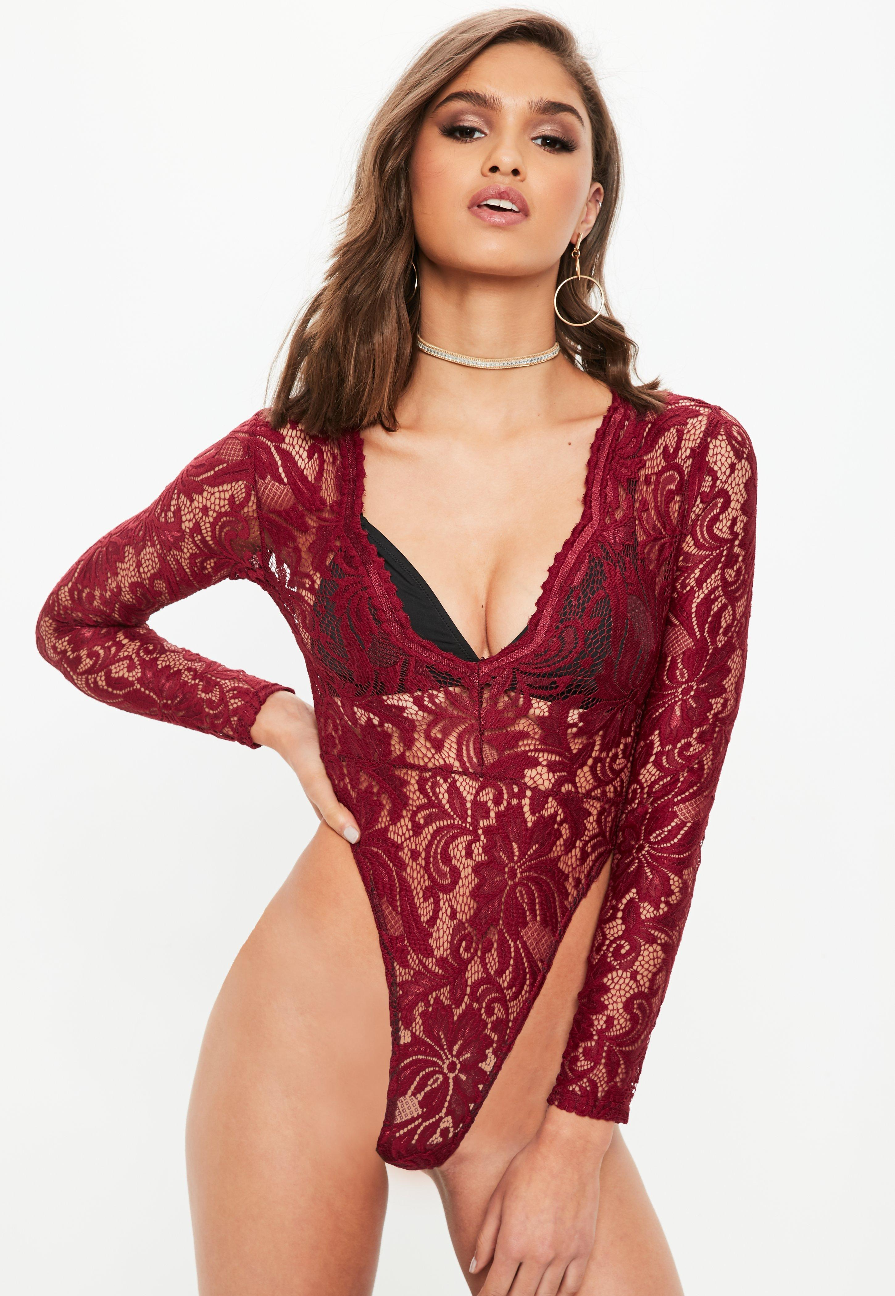45408f2aa0 Missguided Burgundy High Leg Lace Bodysuit in Red - Lyst