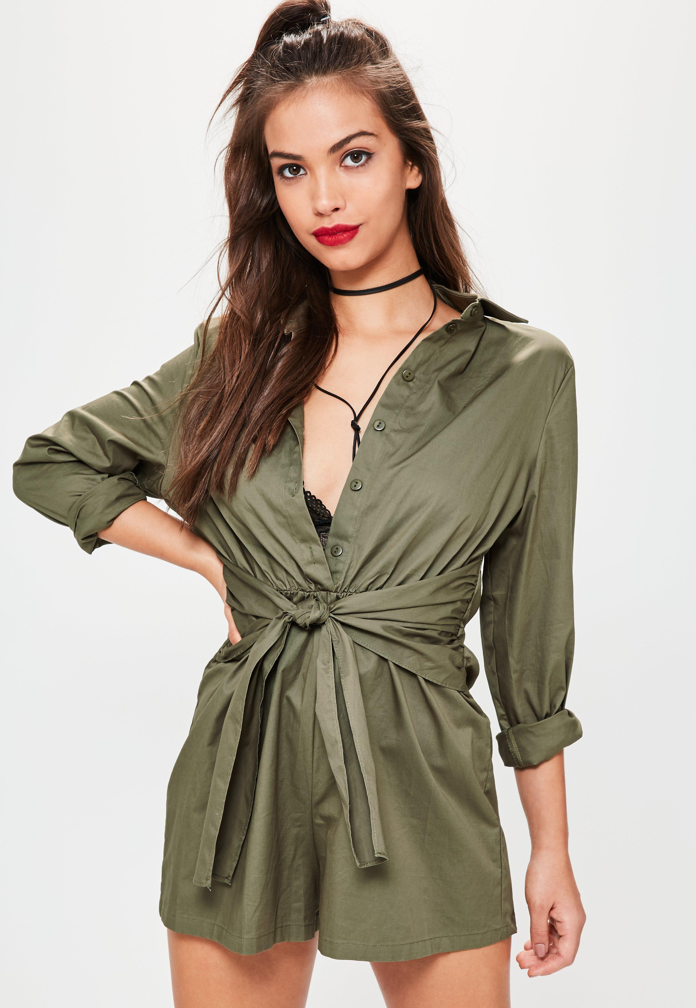 54131daefb3 Lyst - Missguided Khaki Tie Waist Shirt Playsuit in Green
