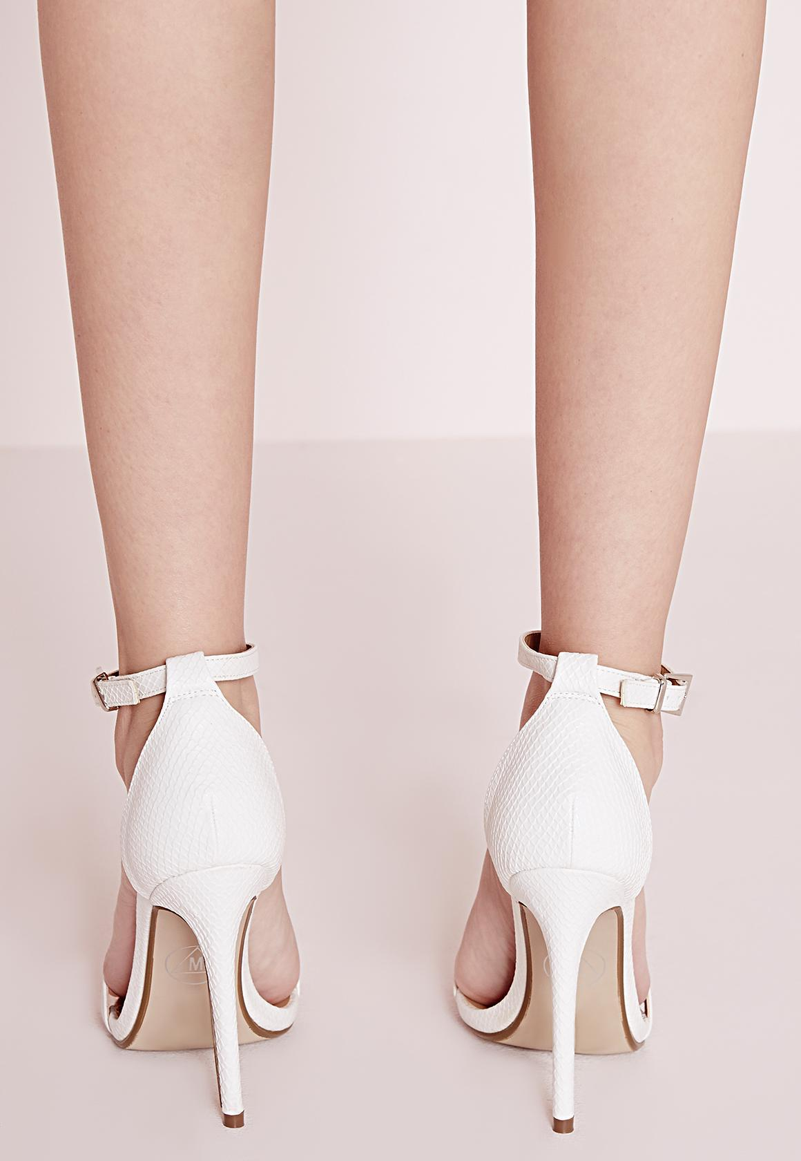 bdb33829e3 Missguided Barely There Strappy Heeled Sandals White Croc in White ...