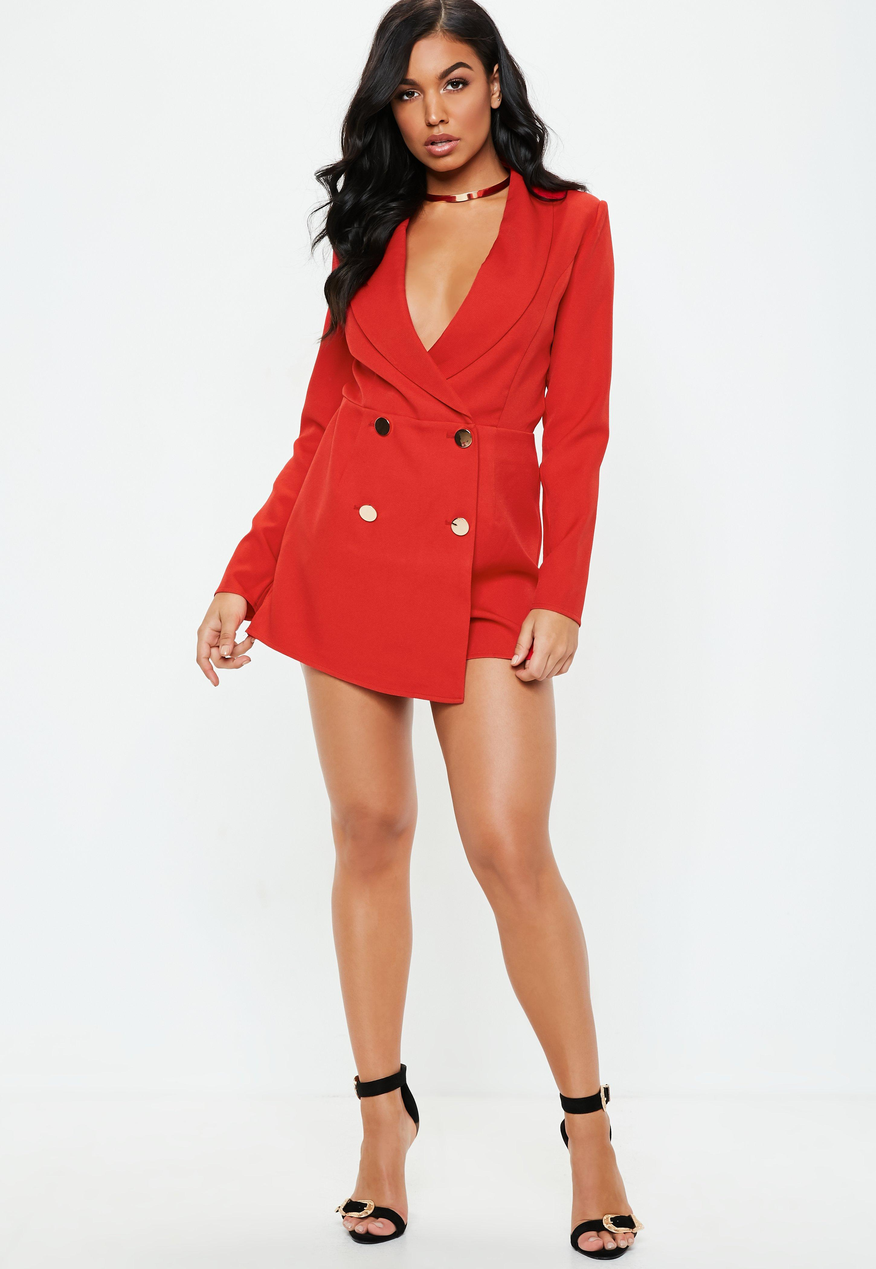 136387aa4aa0 Missguided - Red Tailored Military Button Playsuit - Lyst. View fullscreen