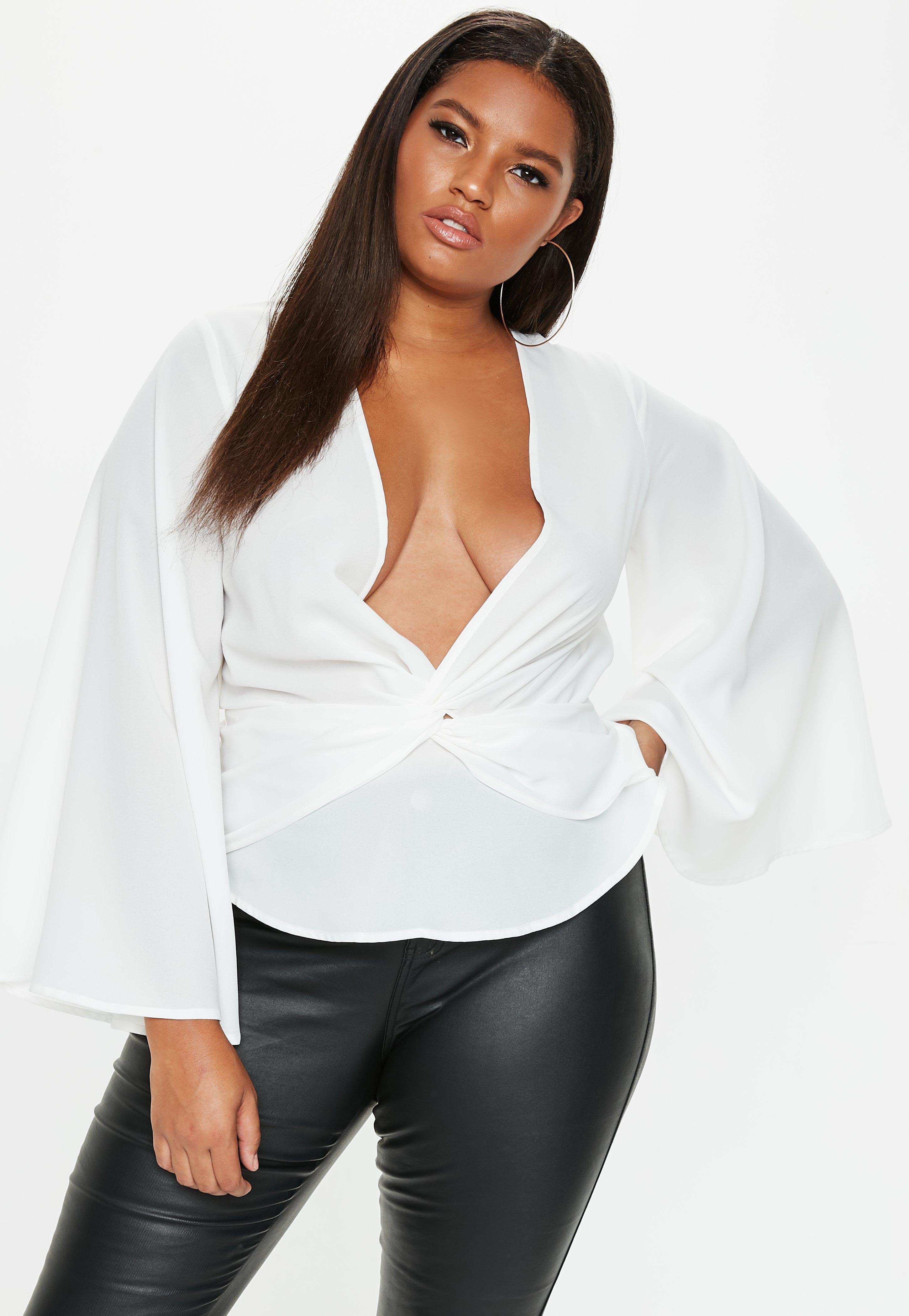 b613cf5d118 Lyst - Missguided Plus Size White Twist Front Top in White