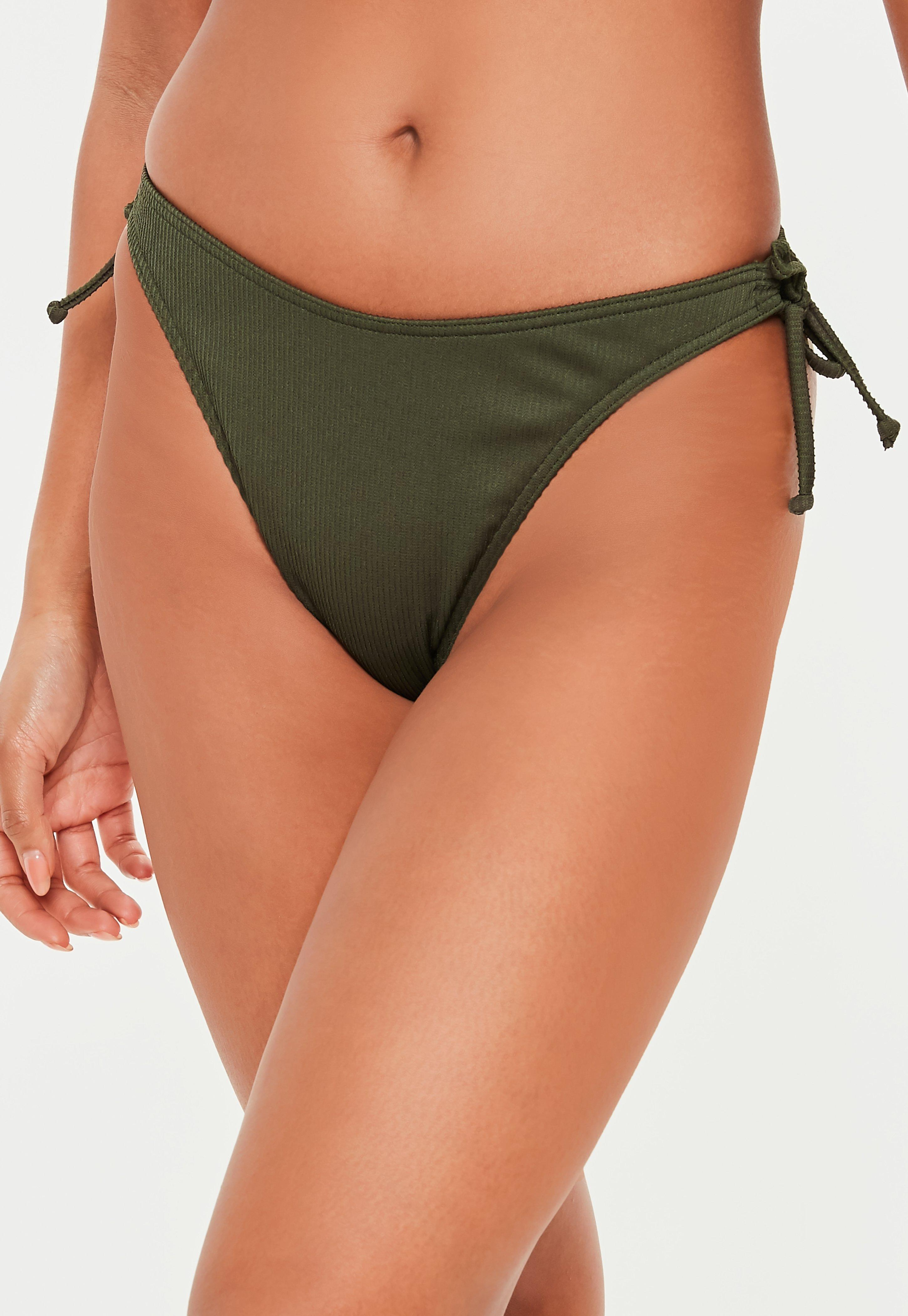326f67510ff73 Missguided. Women s Natural Khaki Mix And Match Boomerang Side Tie Ribbed  Bikini Briefs