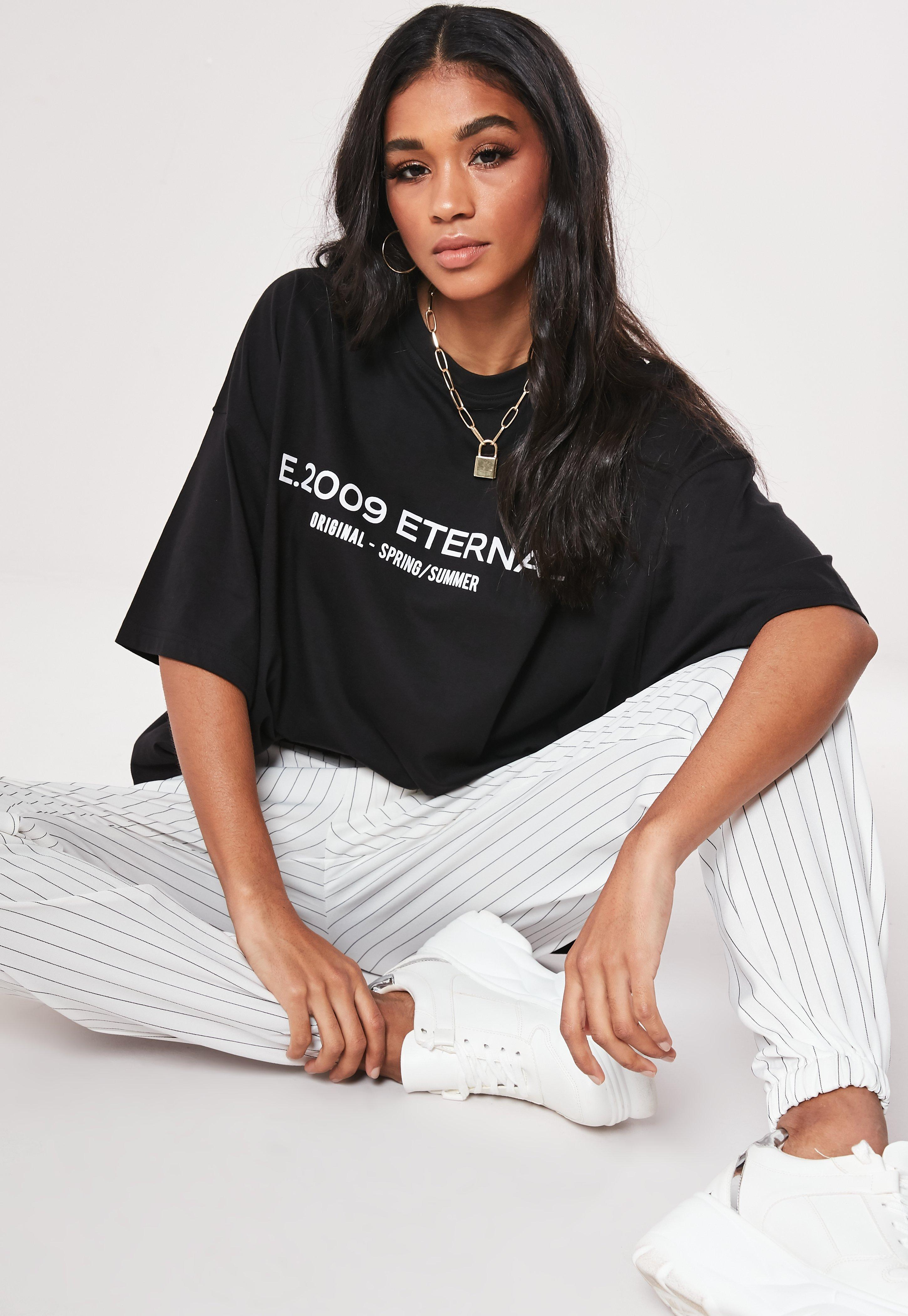 694a9ce5 Lyst - Missguided Petite Black Eternal Drop Shoulder T Shirt in Black