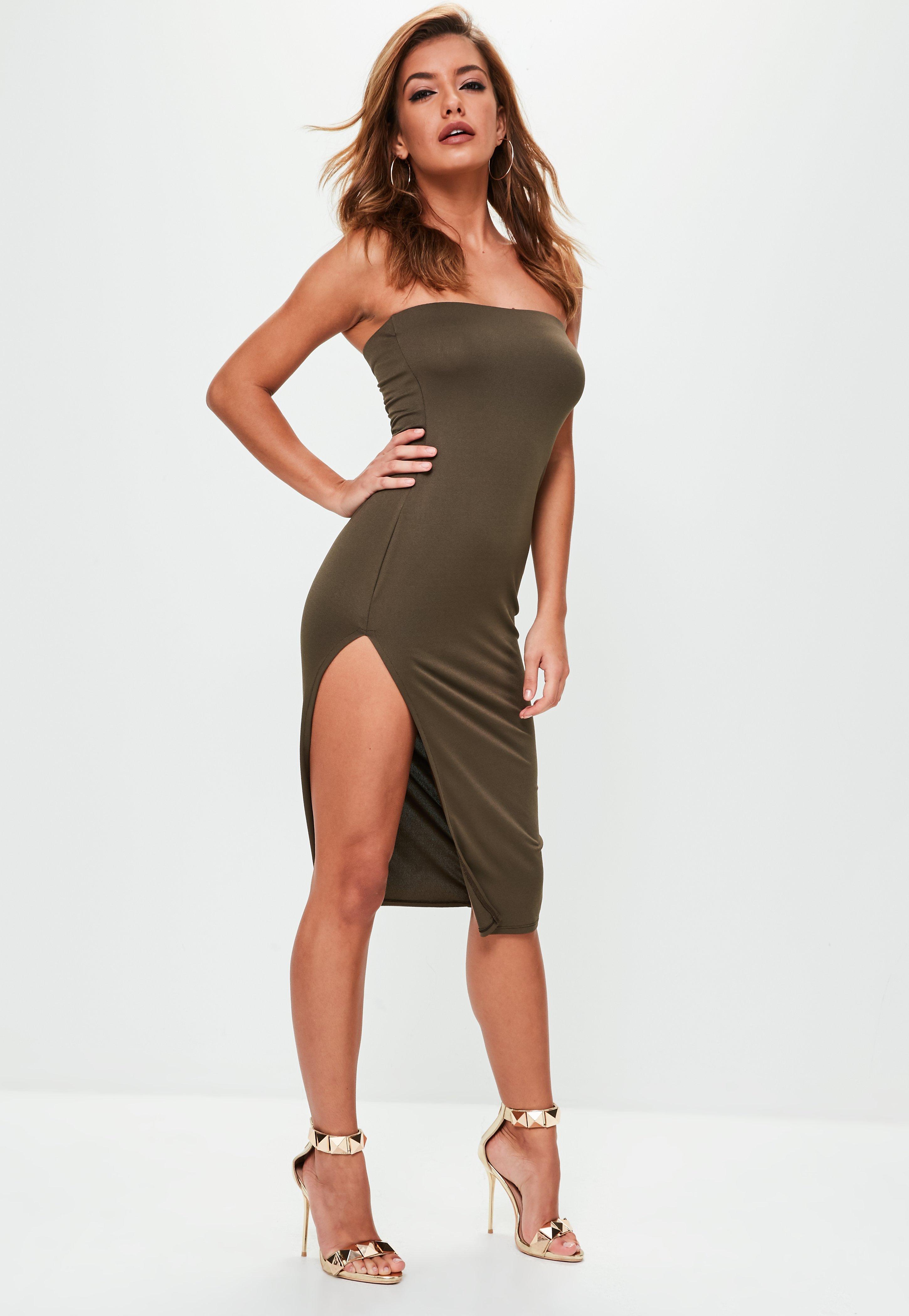 Missguided Khaki Crepe Split Side Bandeau Mini Dress in Natural - Lyst 51095d79e