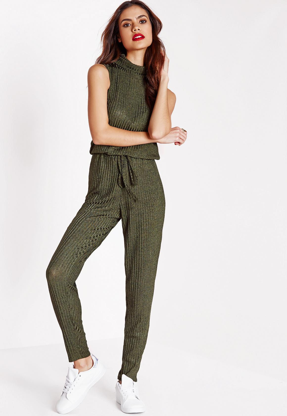 f7e8297e1c1 Missguided Khaki Ribbed Roll Neck Slouch Jumpsuit in Natural - Lyst
