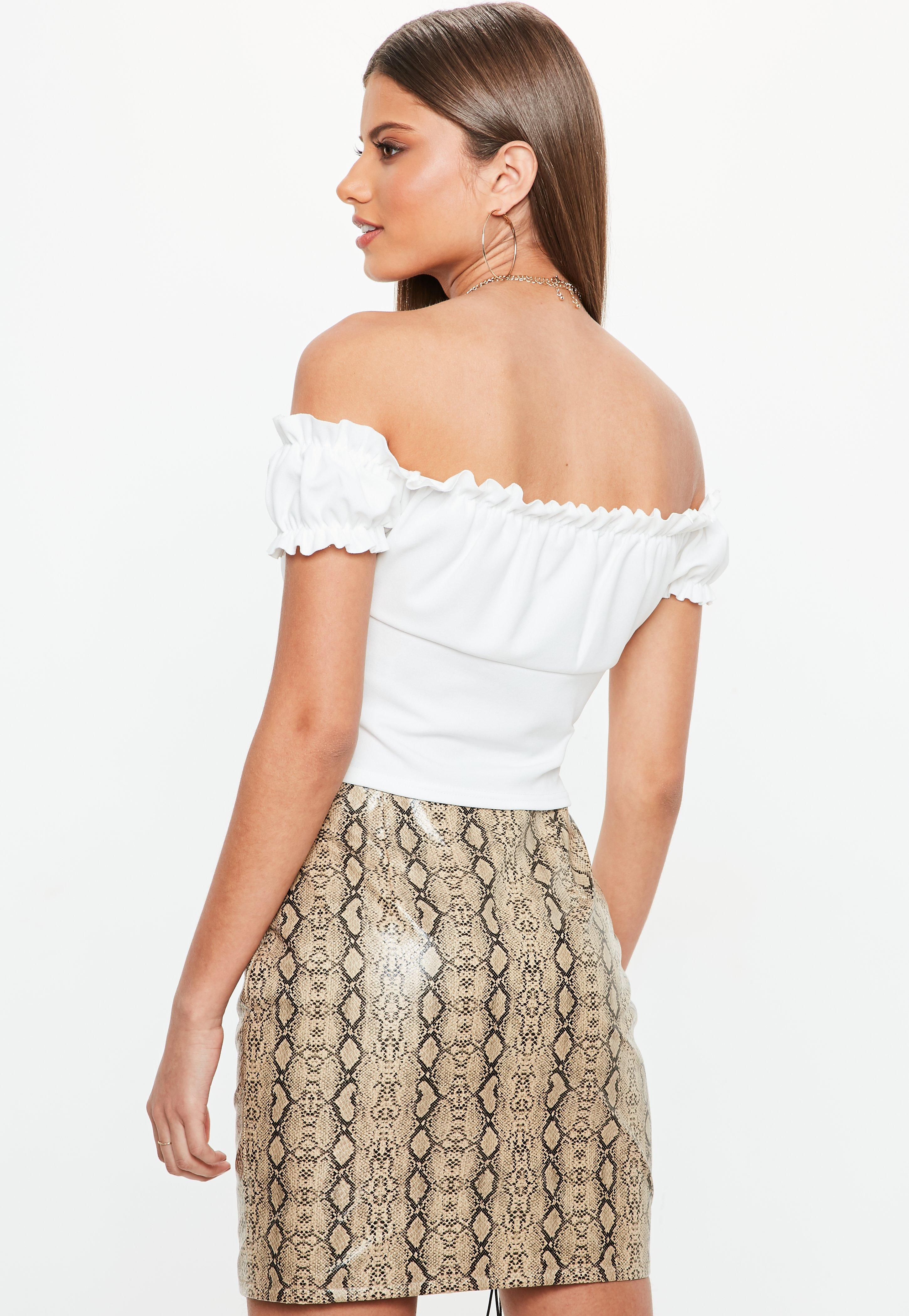 abe8af4ffc9 Missguided White Tie Front Frill Bardot Crop Top in White - Lyst