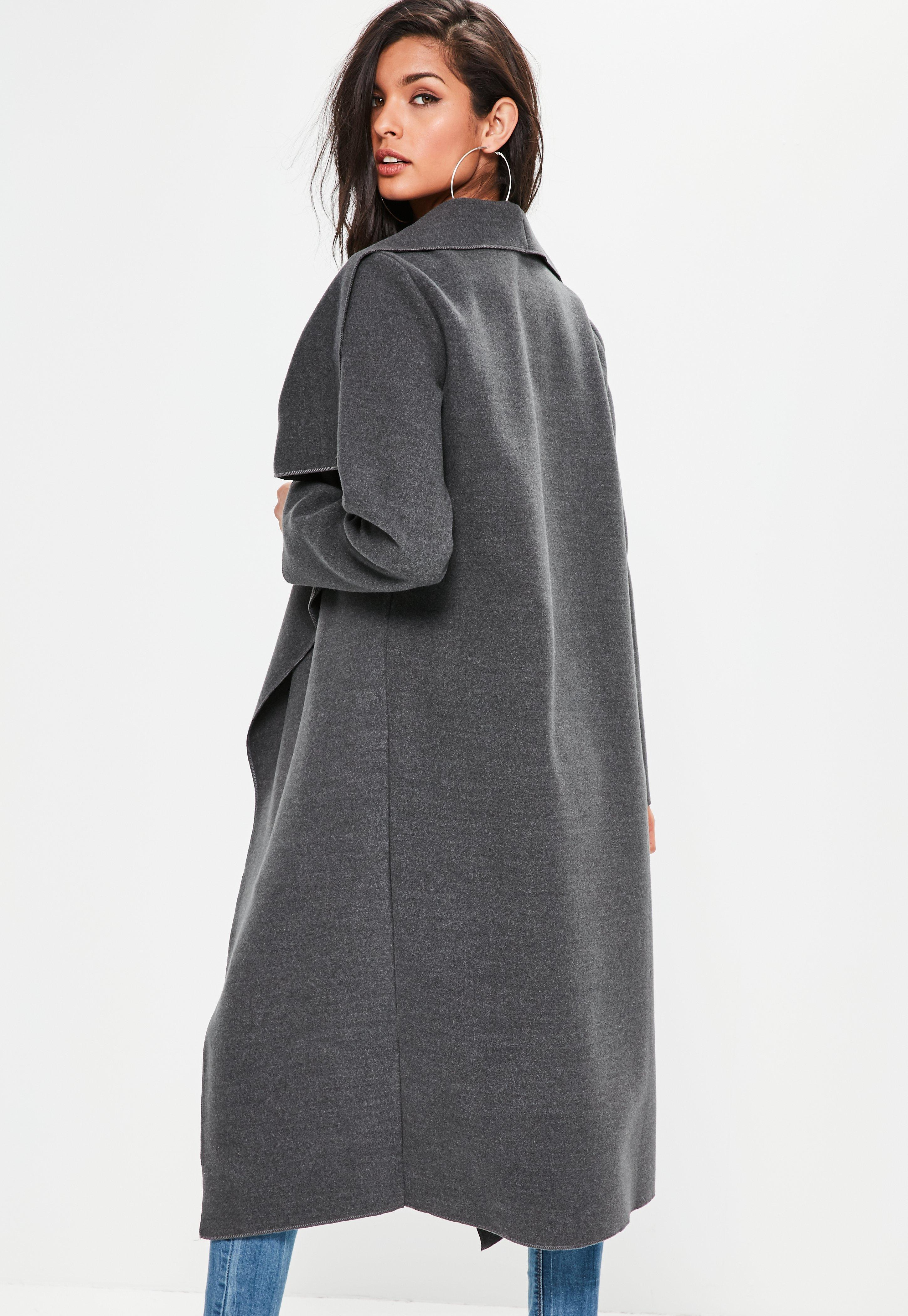 c1afc3c2cf Lyst - Missguided Grey Oversized Long Sleeve Waterfall Duster Coat ...