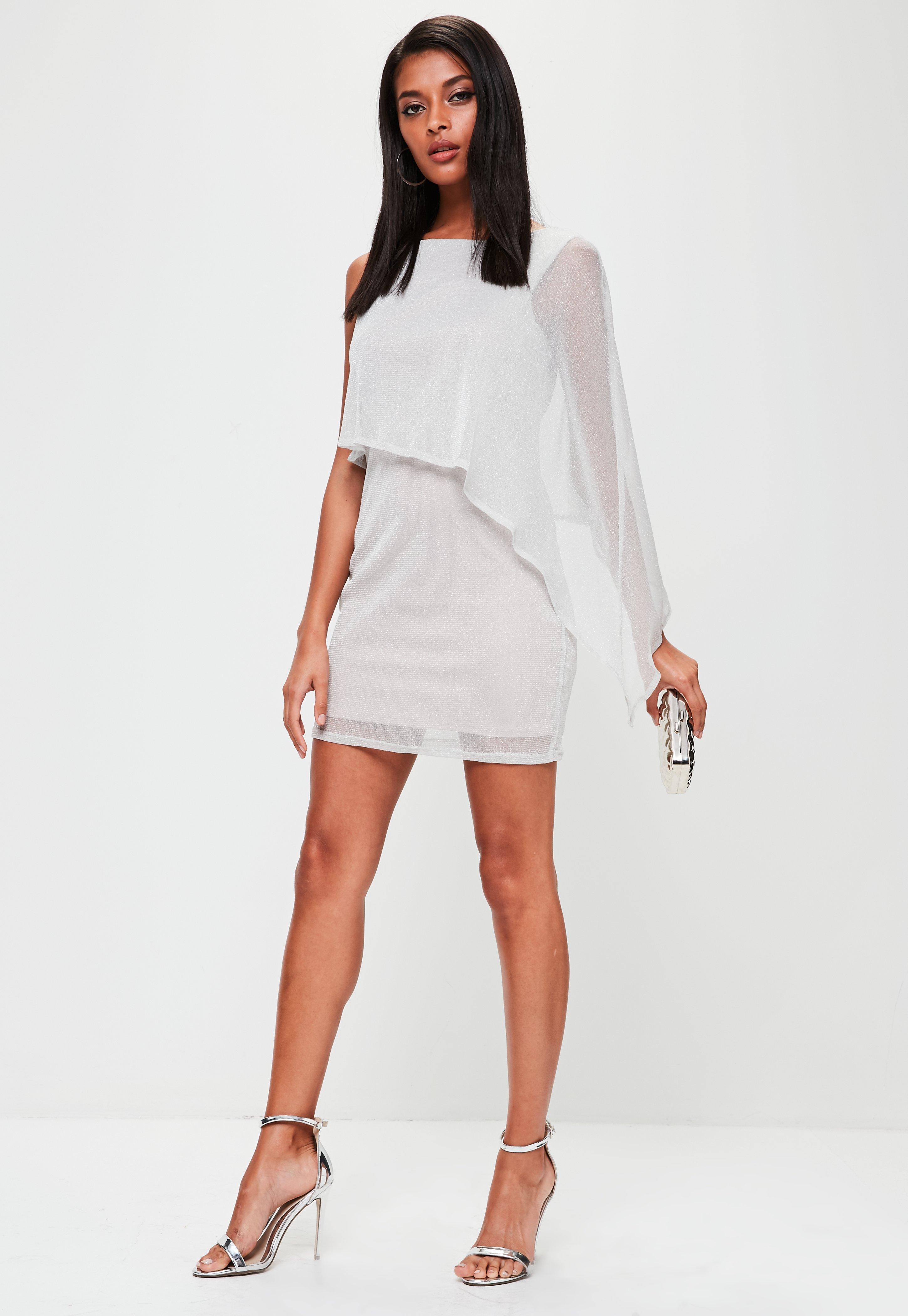 0c09c33a57e54 Lyst - Missguided Silver Metallic Cape One Sleeve Mini Dress in Metallic