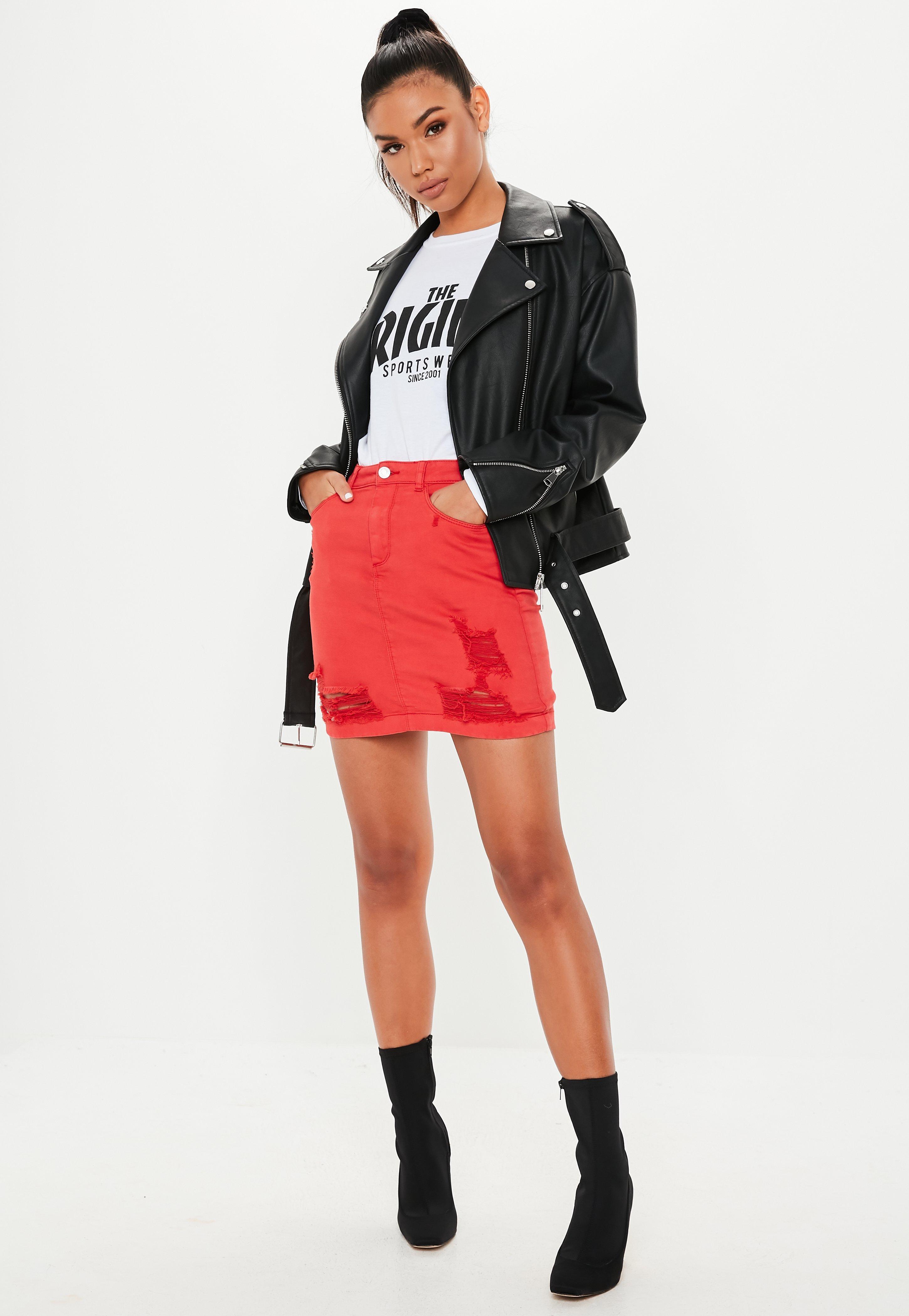 72b74c1b01 Missguided - Red Superstretch Distressed Denim Mini Skirt - Lyst. View  fullscreen