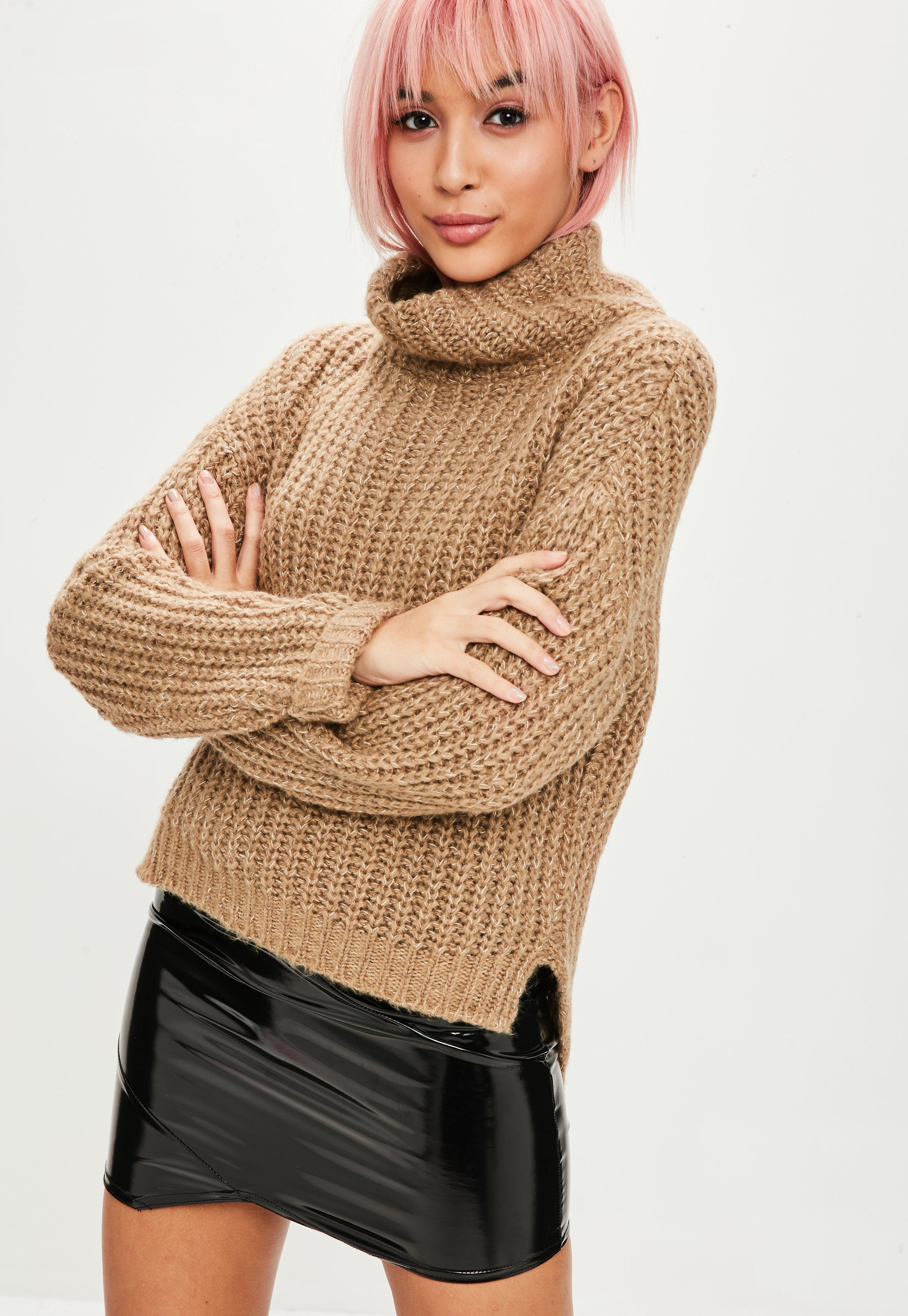 4ae91816c Lyst - Missguided Camel Chunky High Neck Step Hem Sweater in Natural