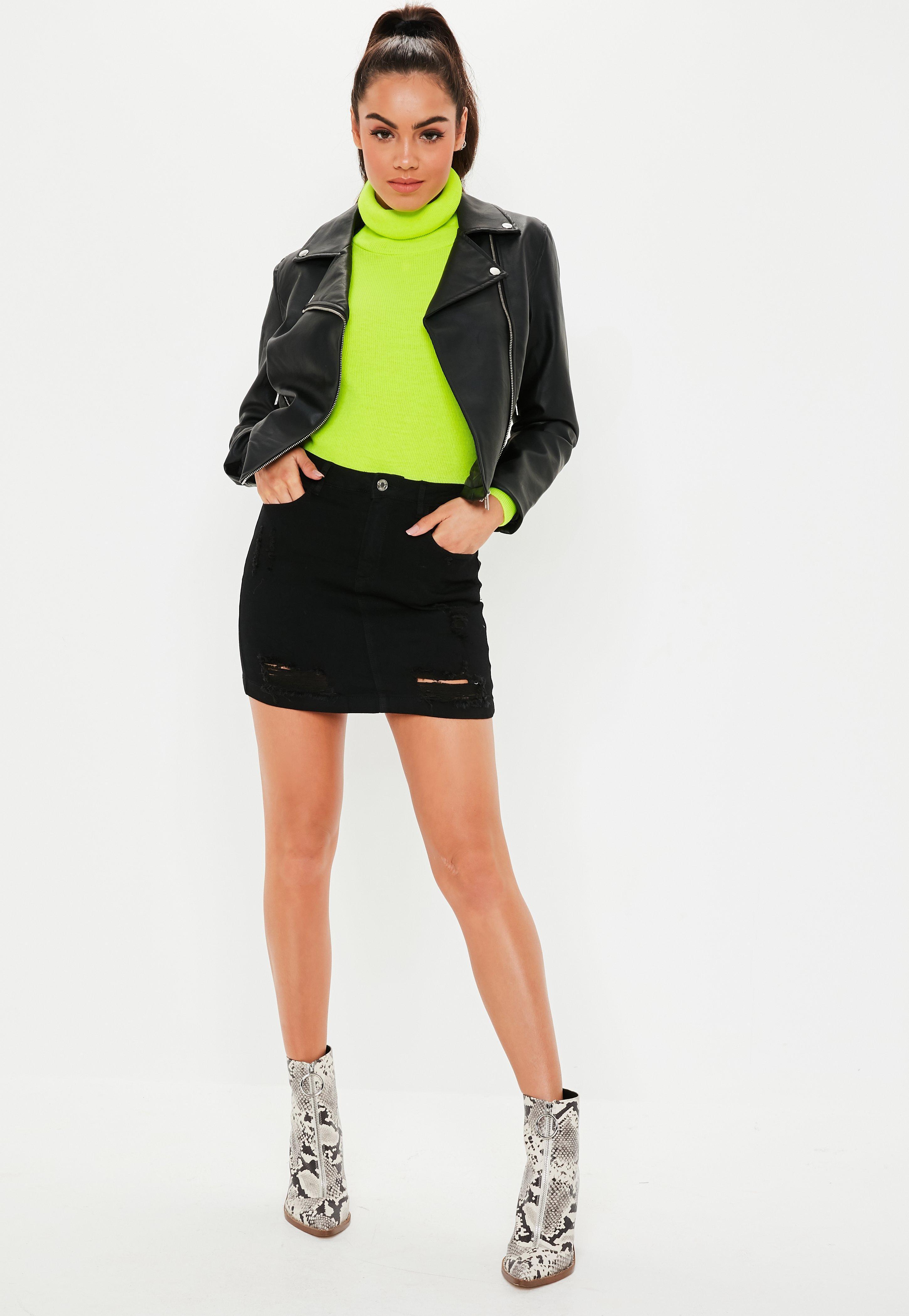 8816de69b6 Missguided - Petite Black Distressed Superstretch Denim Skirt - Lyst. View  fullscreen