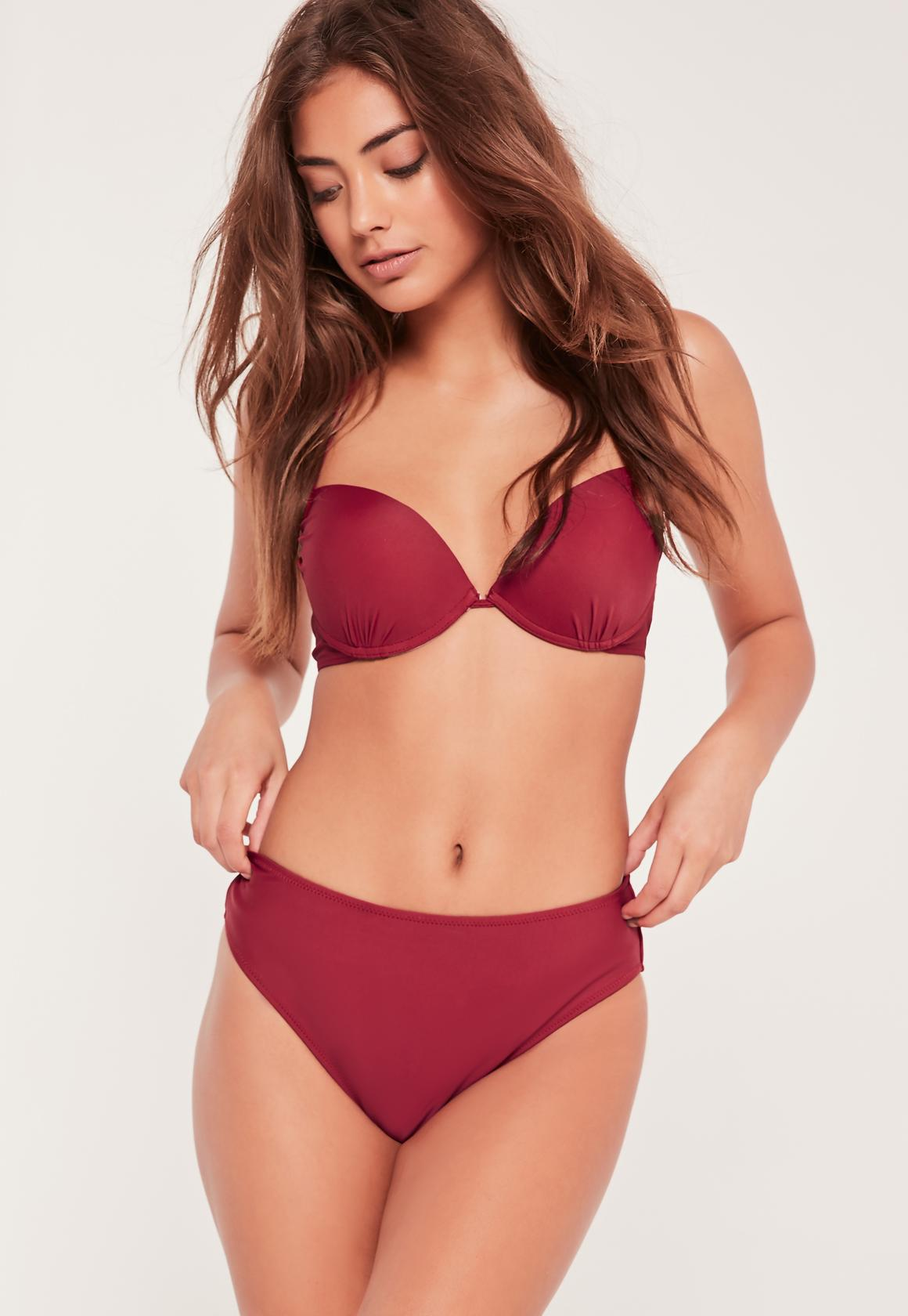 3e911955fb Lyst - Missguided Super High Leg High Waisted Bikini Bottoms ...