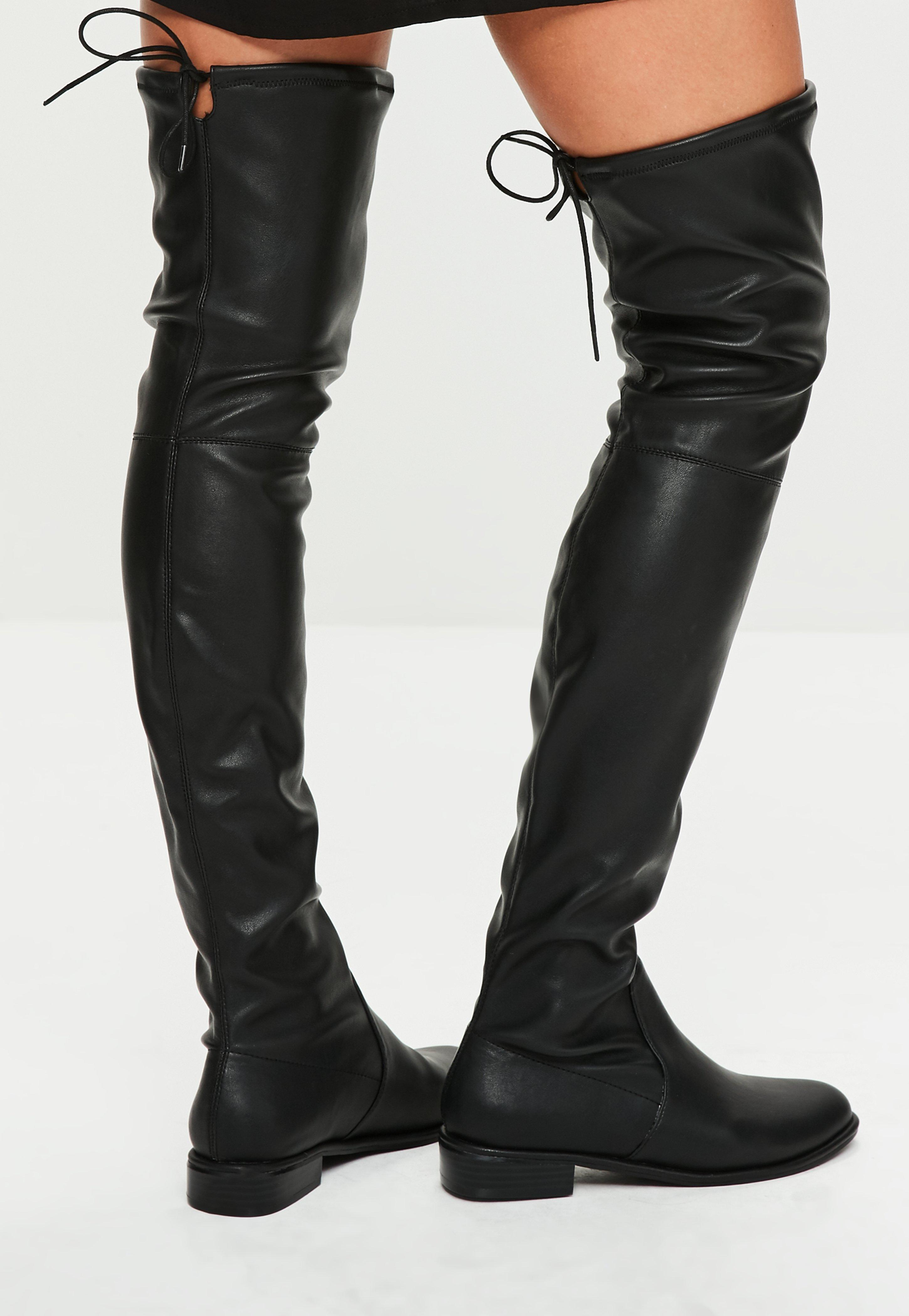 Lyst - Missguided Black Faux Leather Flat Over The Knee Boots in Black 00fc253bdc00