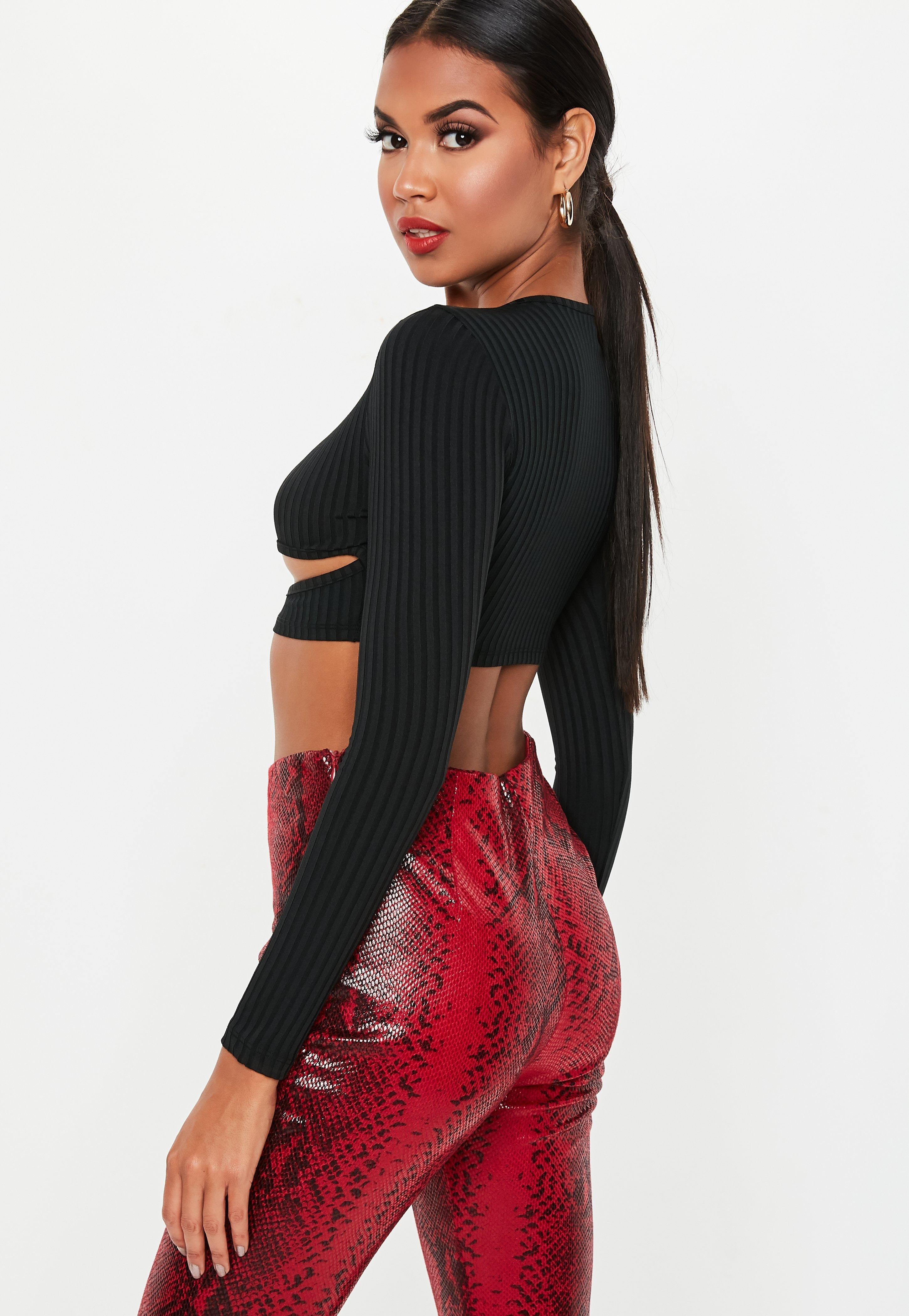 b9206d6c072690 Missguided - Petite Black Ribbed Cut Out Long Sleeve Crop Top - Lyst. View  fullscreen