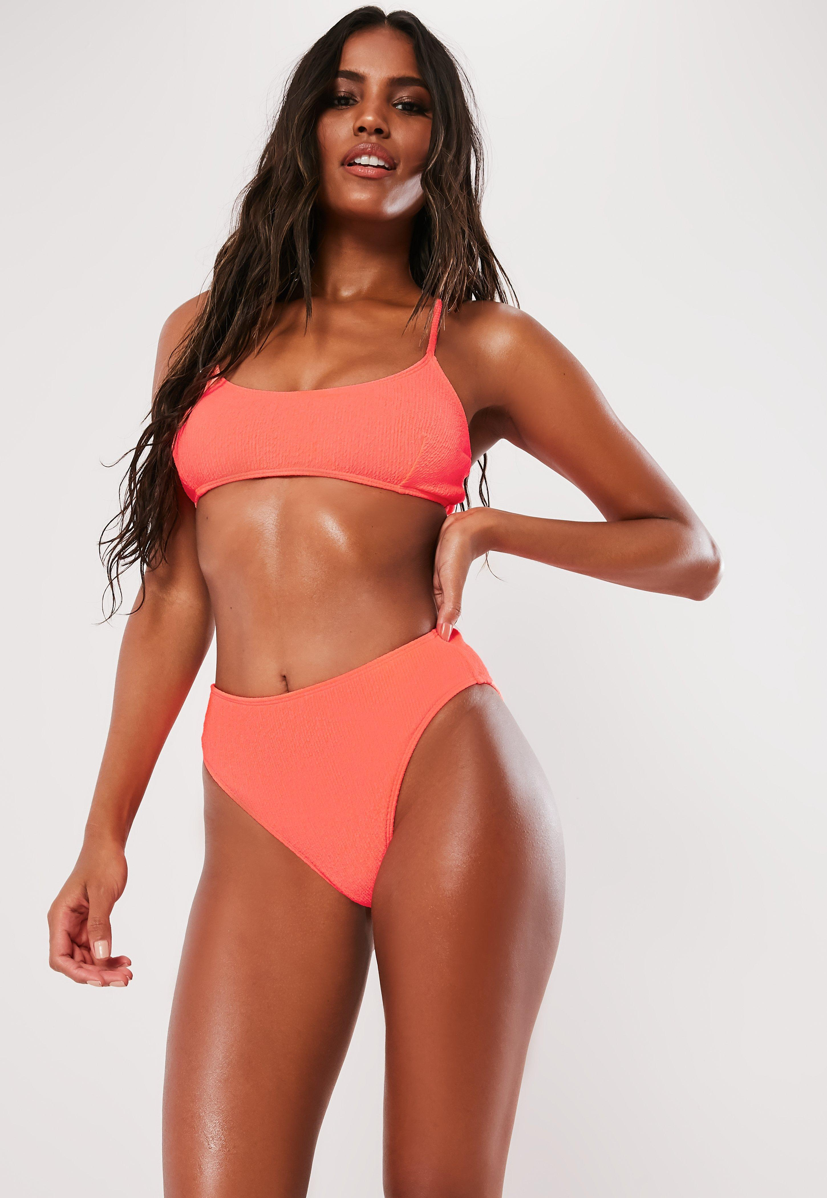 2f67b8761bb48 Missguided. Women s Neon Peach Crinkle High Waisted High Leg Bikini Bottoms