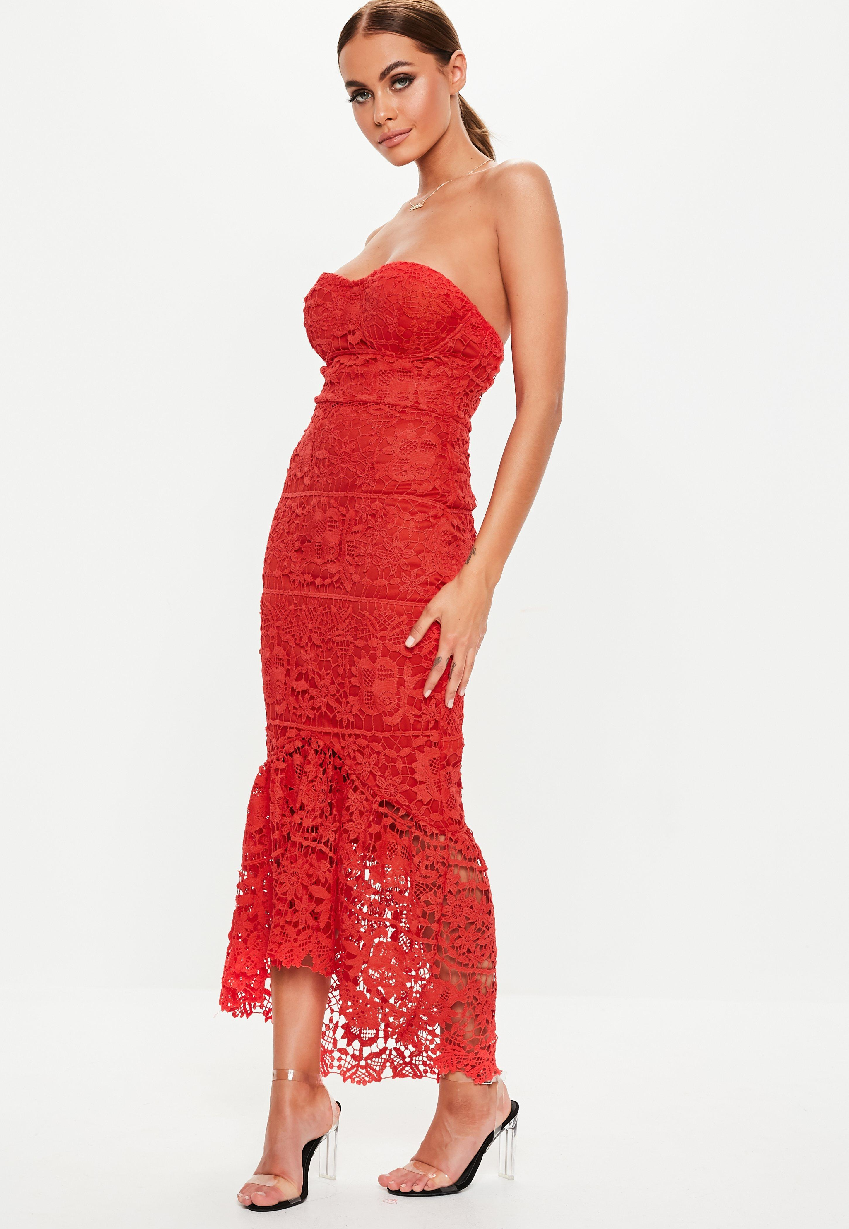 dd0cd73b1fa Missguided - Red Lace Bandeau Bust Cup Midi Dress - Lyst. View fullscreen