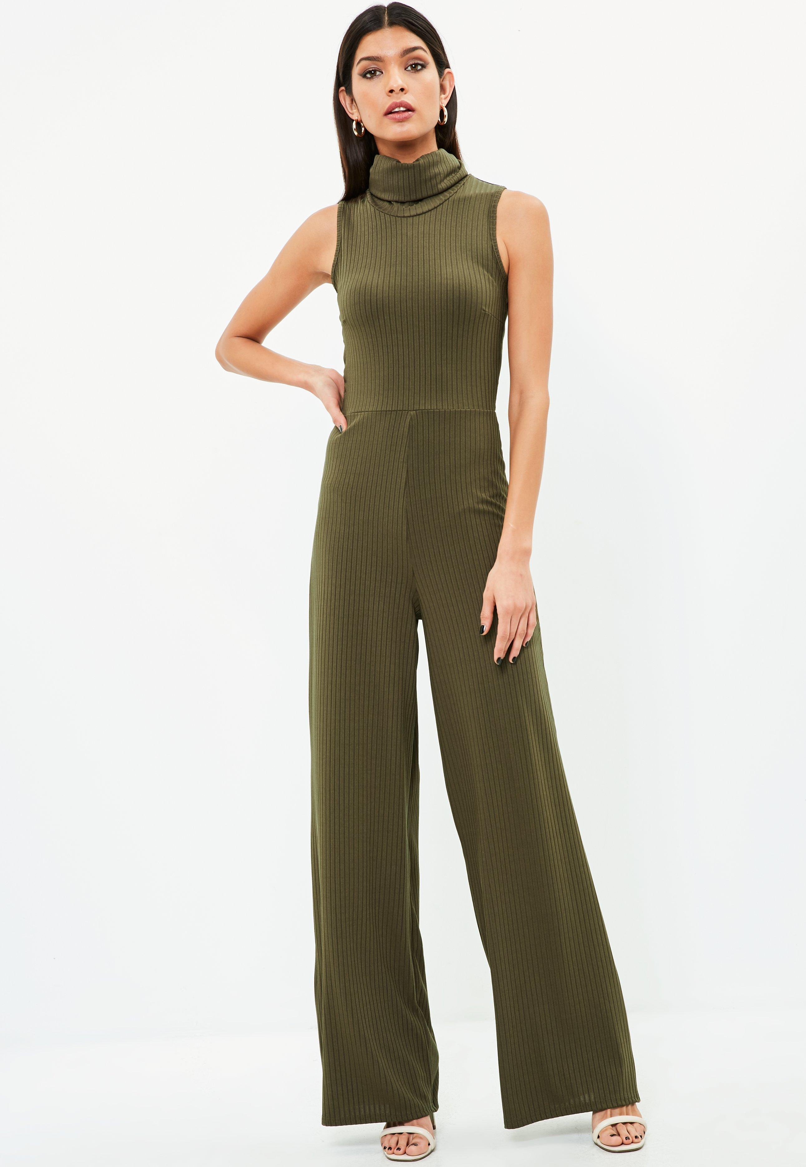 7b375e30dbb Lyst - Missguided Khaki Roll Neck Sleeveless Kick Flare Jumpsuit