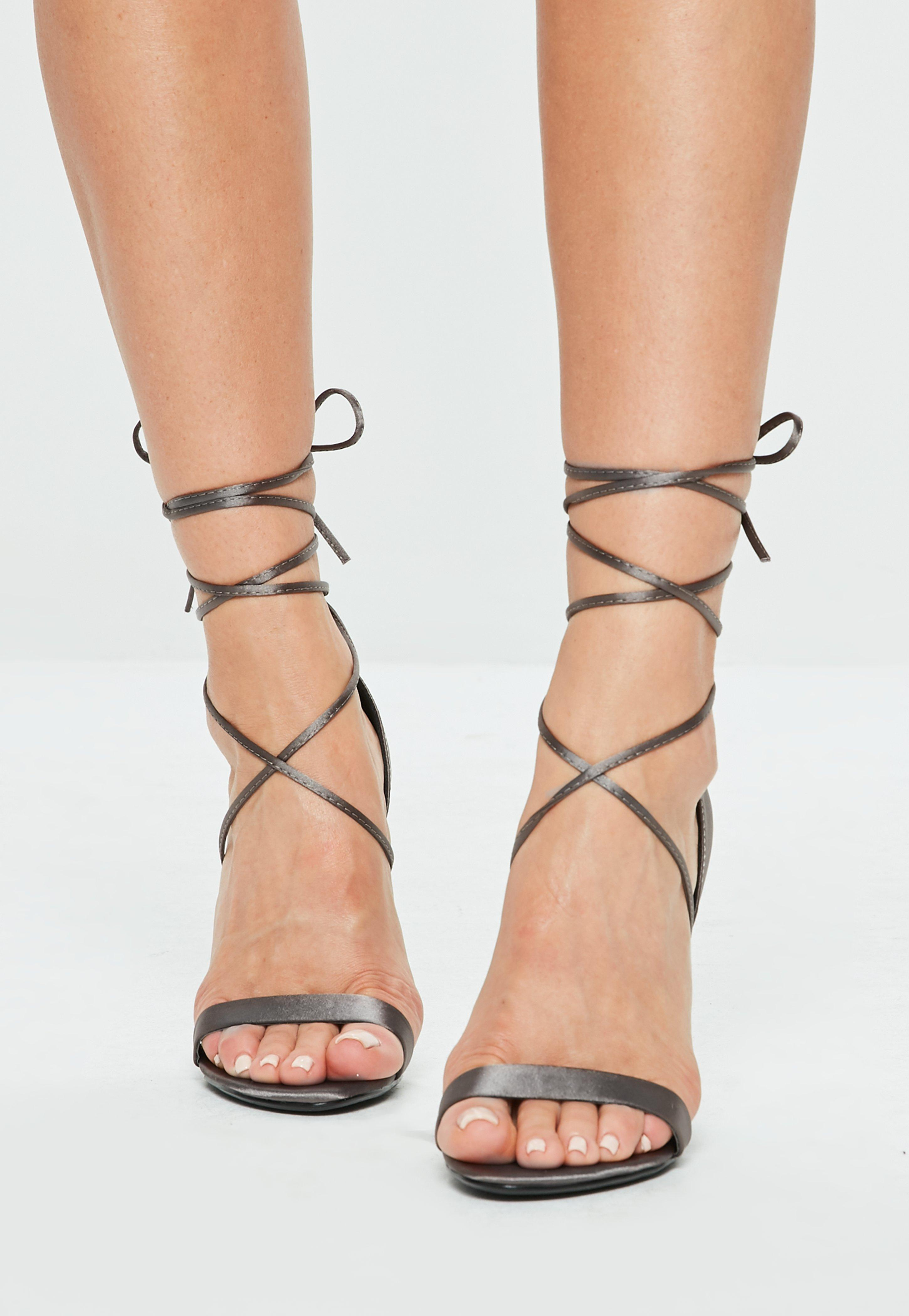 cfb4cd1dd00c Missguided - Gray Satin Lace Up Barely There Heel - Lyst. View fullscreen