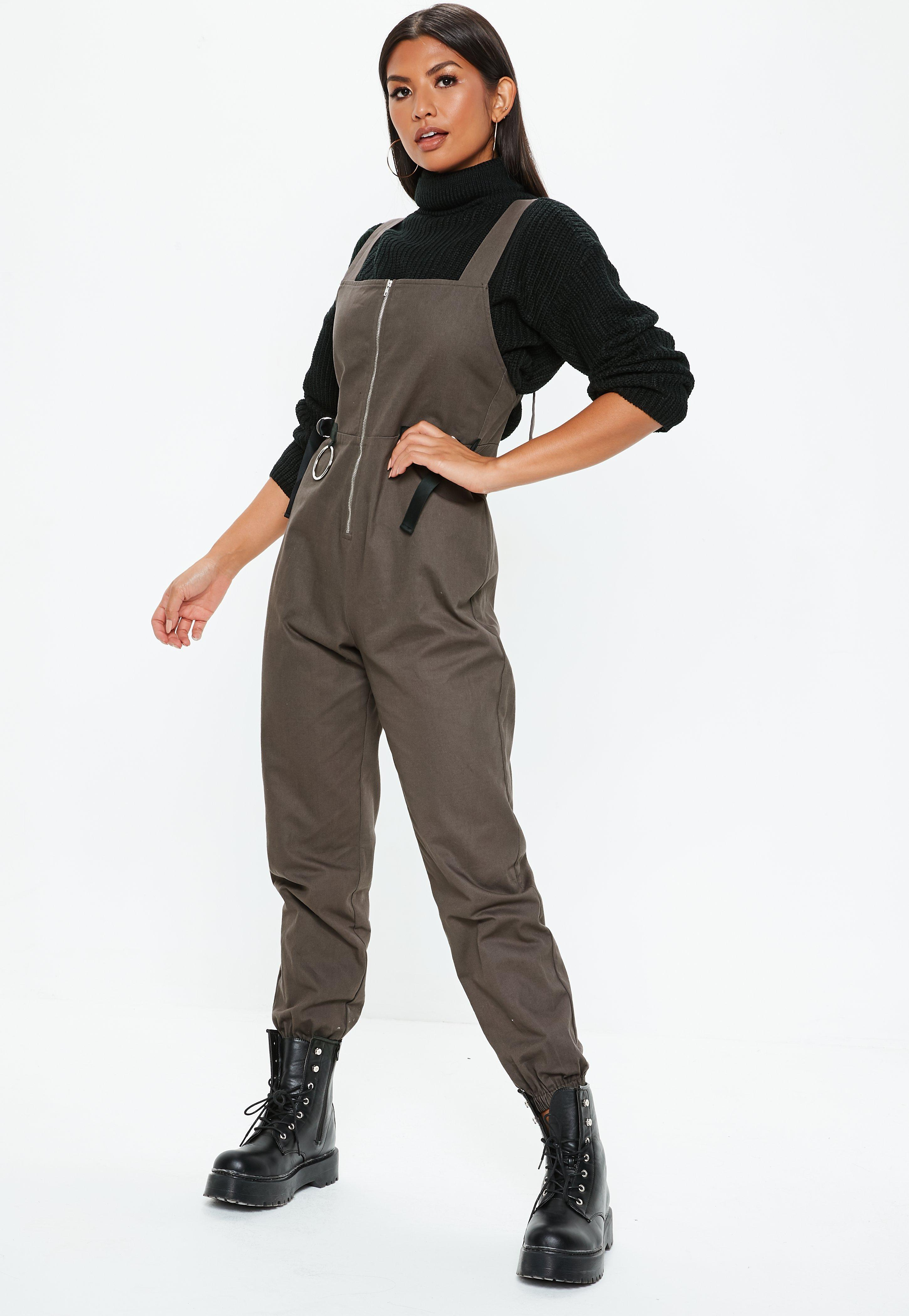 0f544dce433 Lyst - Missguided Gray Backless Utility Jumpsuit in Gray