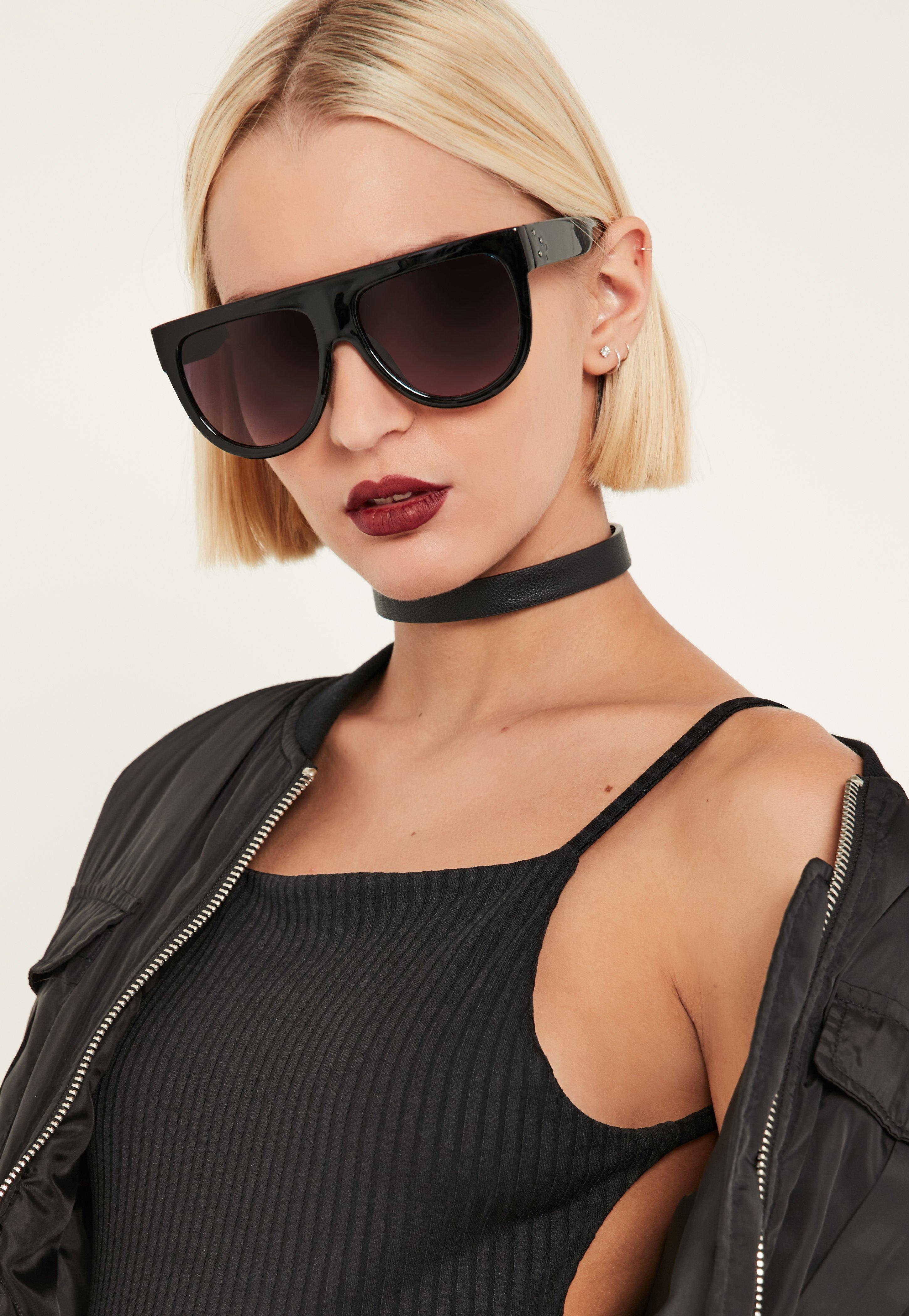 3b6265250d5 Lyst - Missguided Black Flat Top Sunglasses in Black
