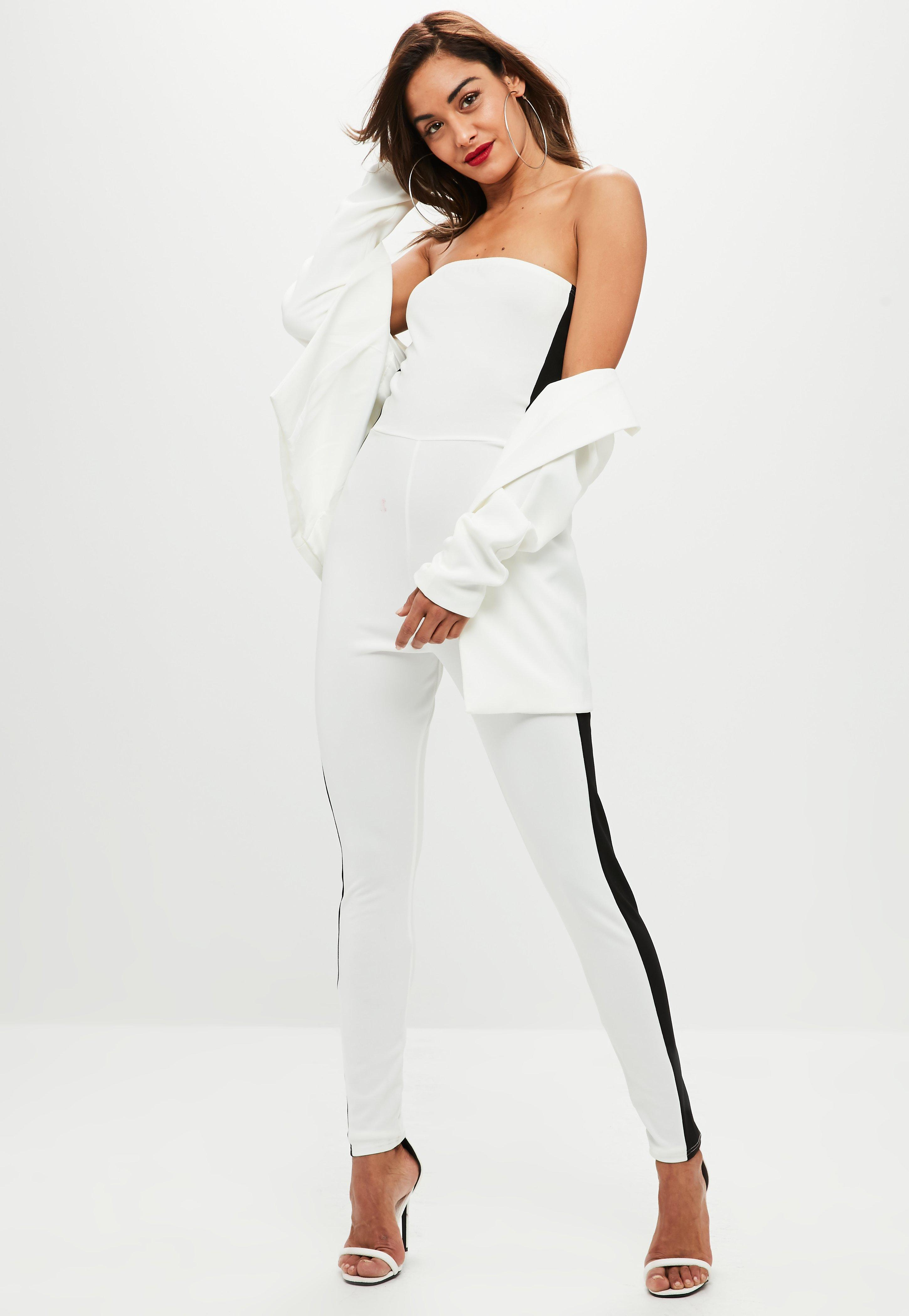a5cb0ffd58e Lyst - Missguided White Side Stripe Bandeau Jumpsuit in White