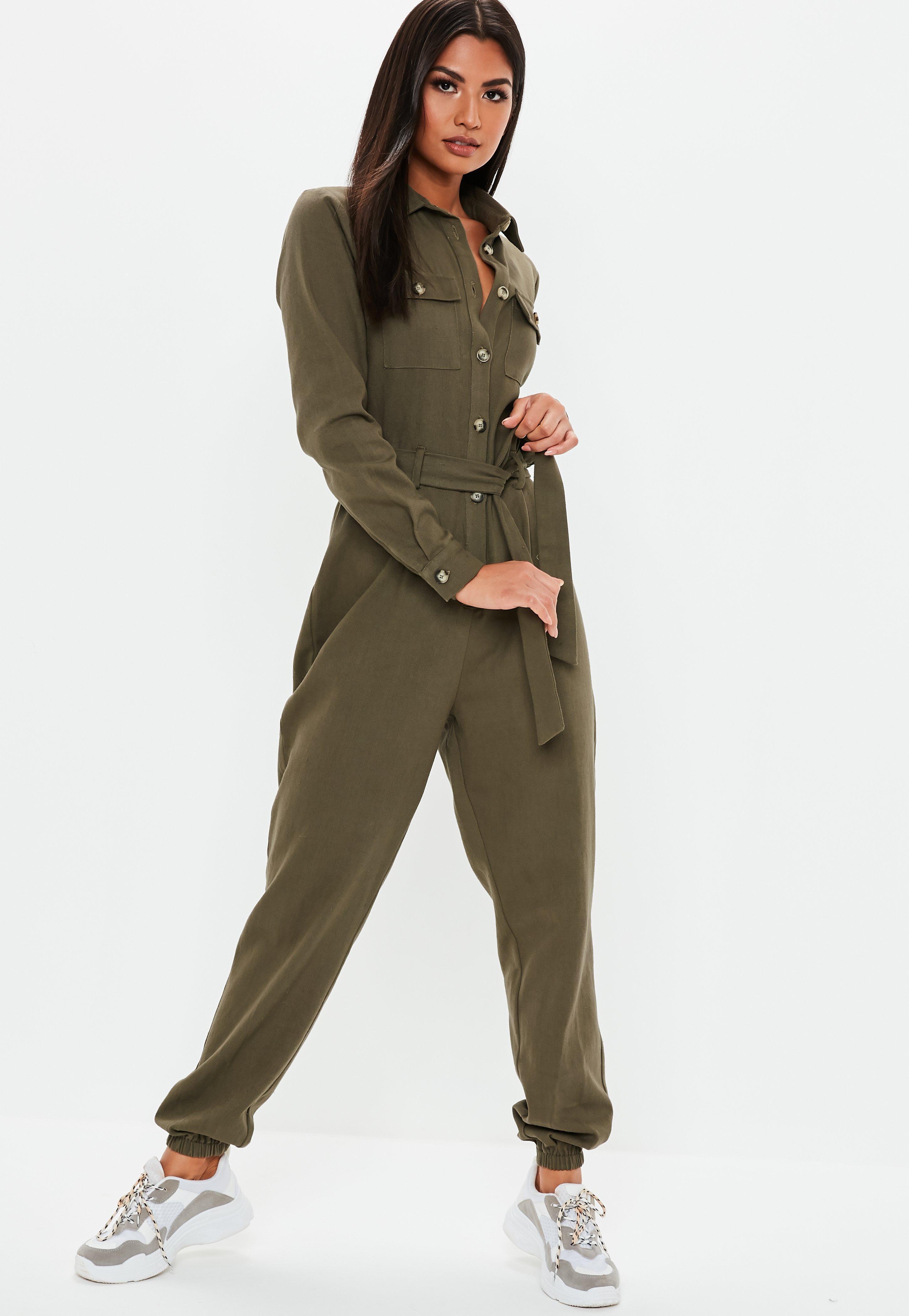 143bde280953 Missguided - Natural Khaki Utility Long Sleeve Jumpsuit - Lyst. View  fullscreen