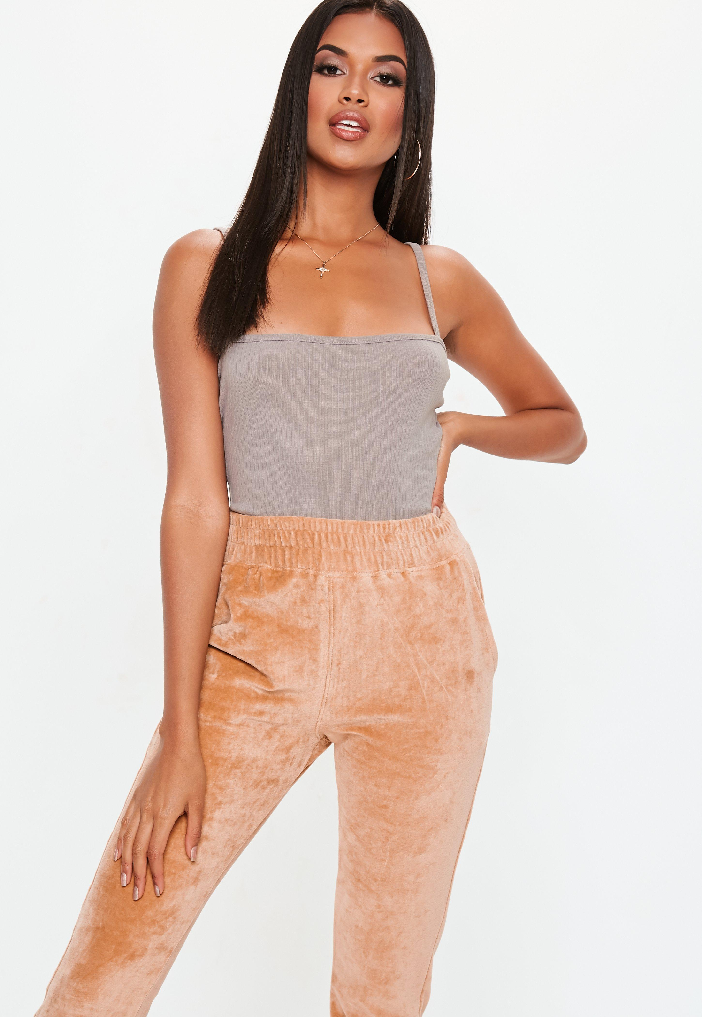 9afd208cf7 Lyst - Missguided Gray Square Neck Ribbed Bodysuit in Gray