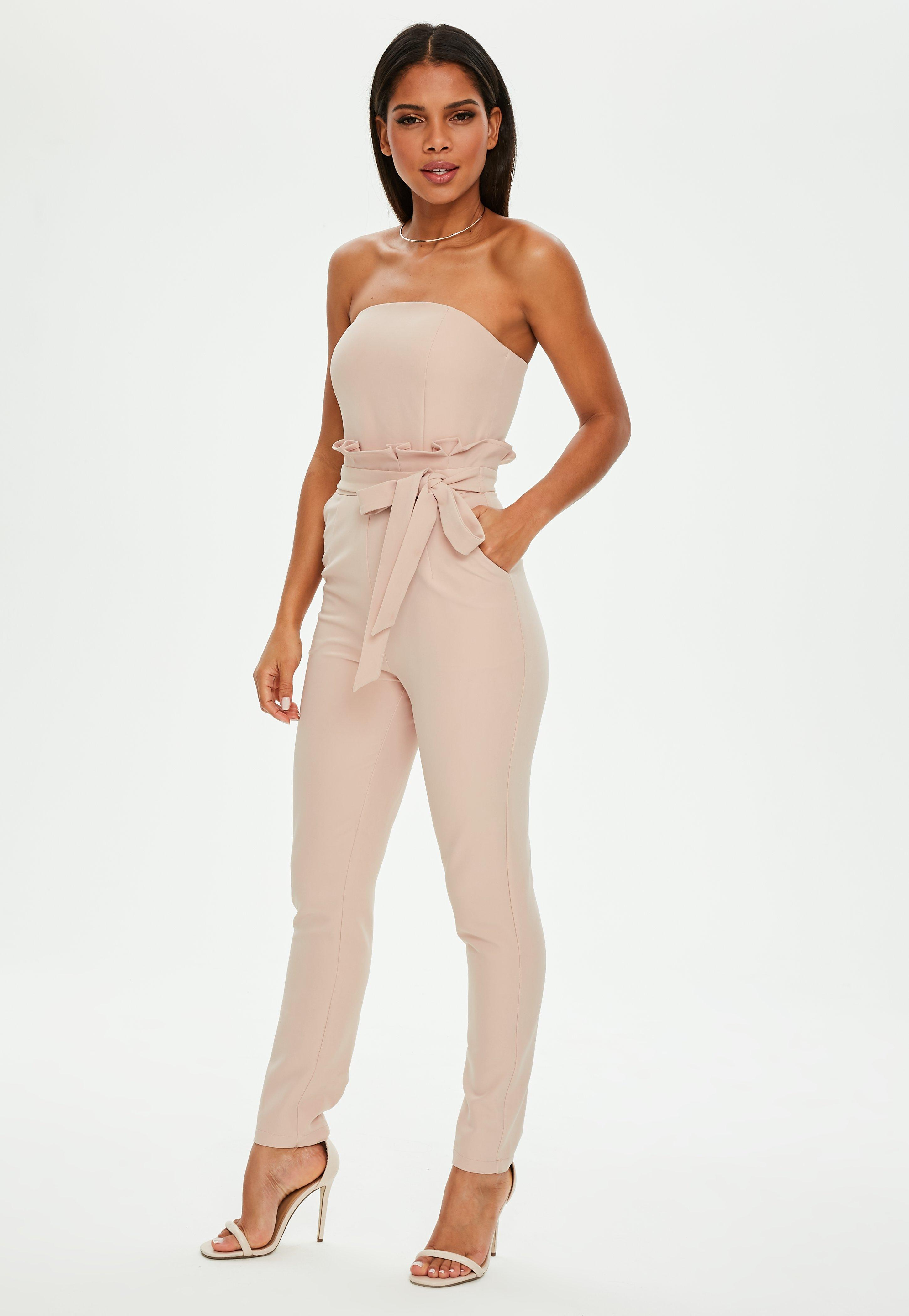 7dbccda6854f Missguided Nude Paperbag Waist Bandeau Jumpsuit in Natural - Lyst