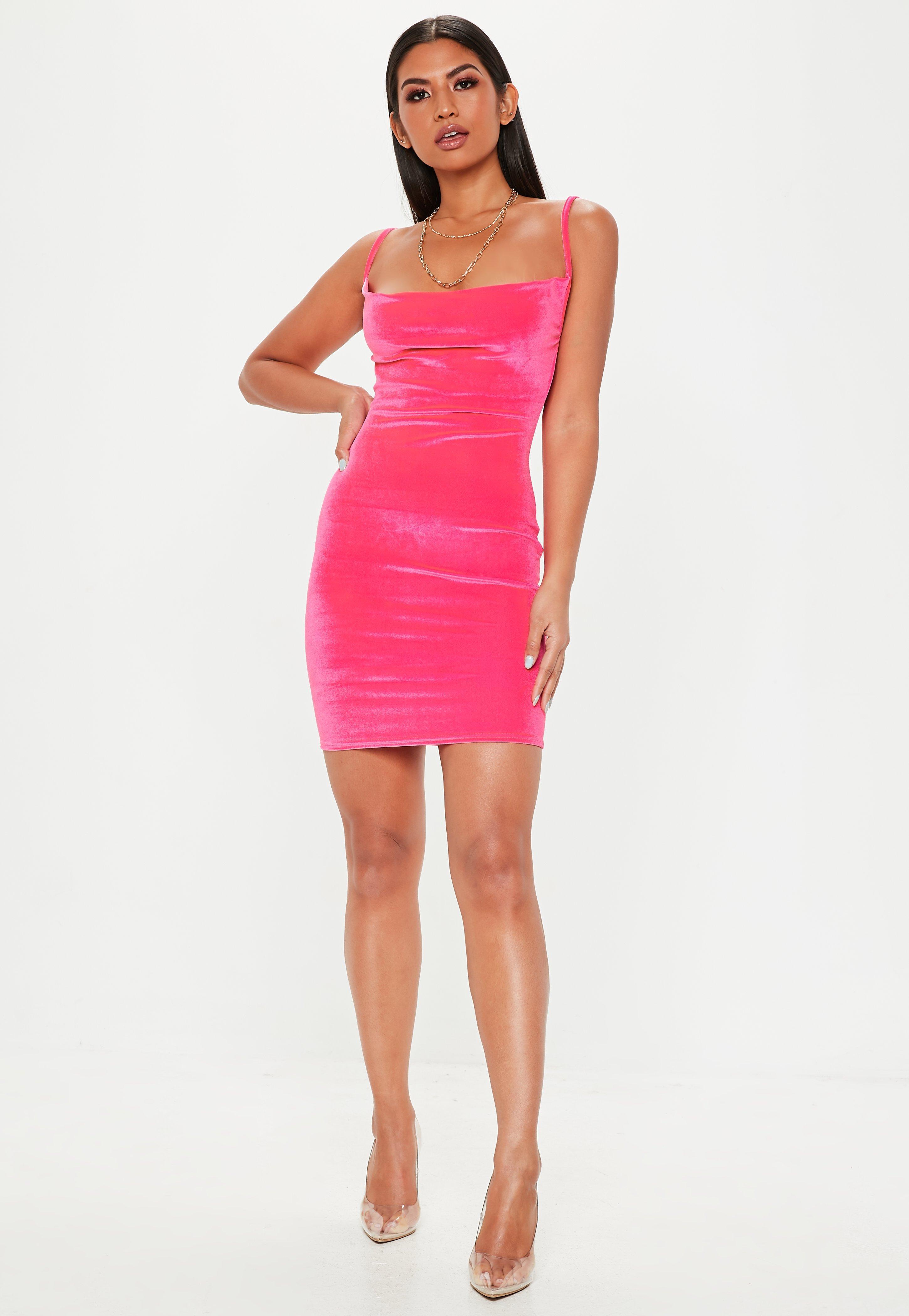 29f025e1c041 Missguided Pink Neon Velvet Cowl Mini Dress in Pink - Lyst