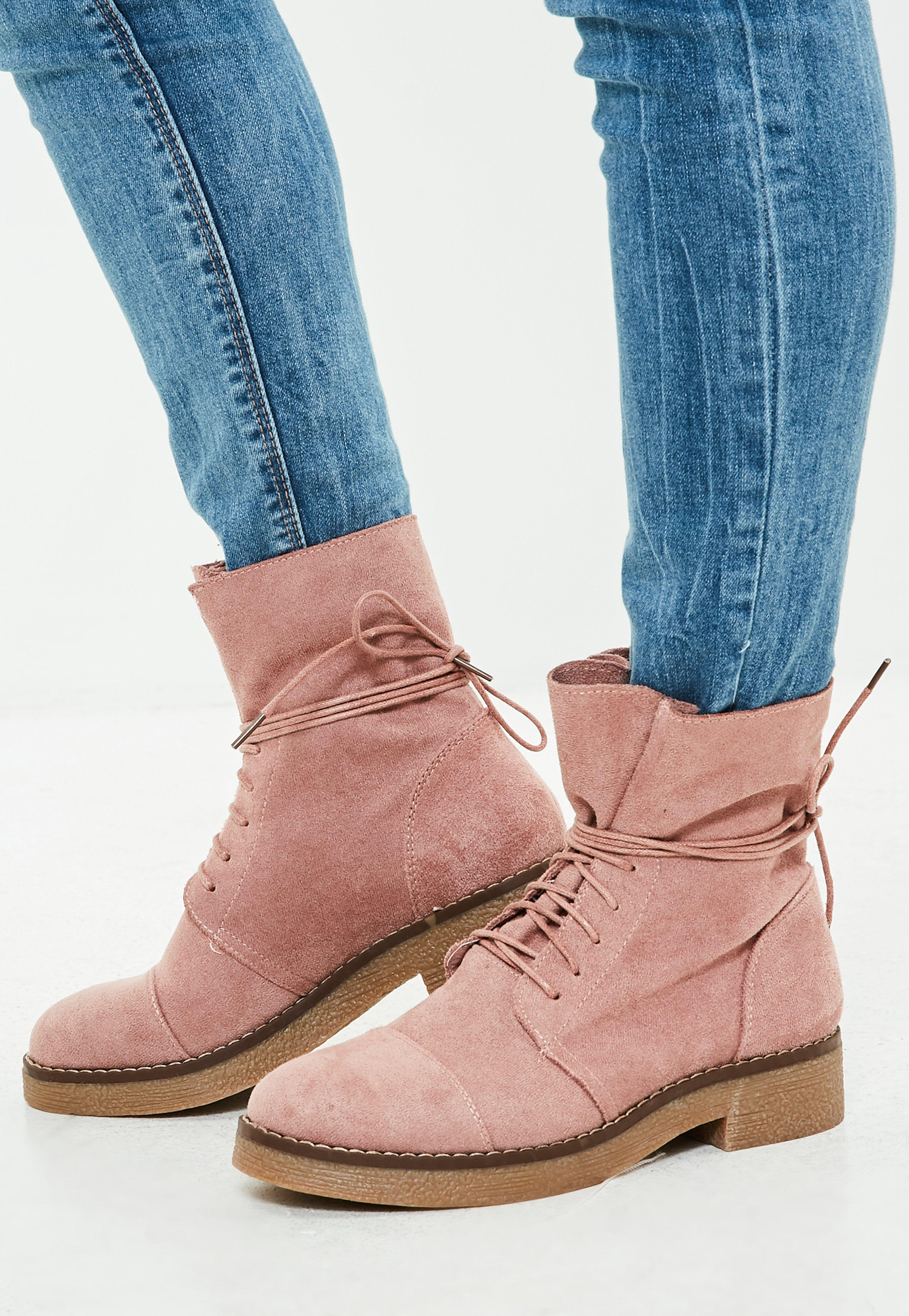 Missguided Pink Faux Suede Ankle Boots In Pink Lyst