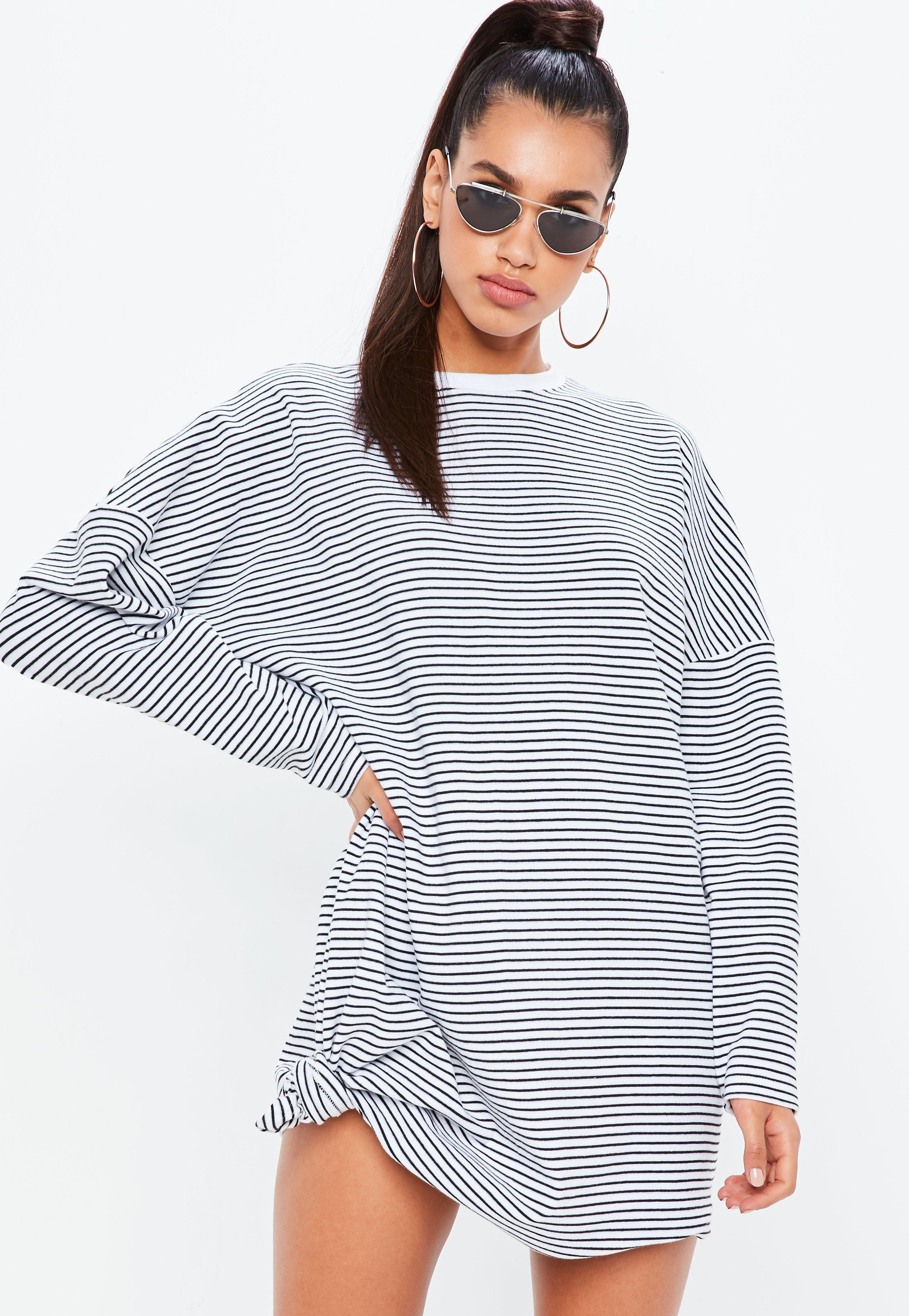 80c4209b5e7 Missguided White Oversized Stripe Sweatshirt Dress in White - Lyst