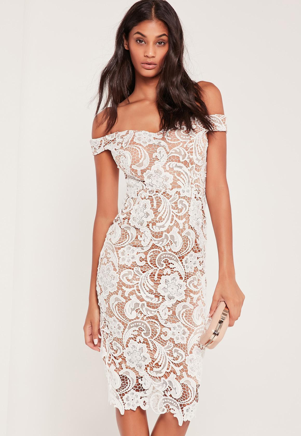 46fe852d4071 Lyst - Missguided Bardot Lace Midi Dress White in White