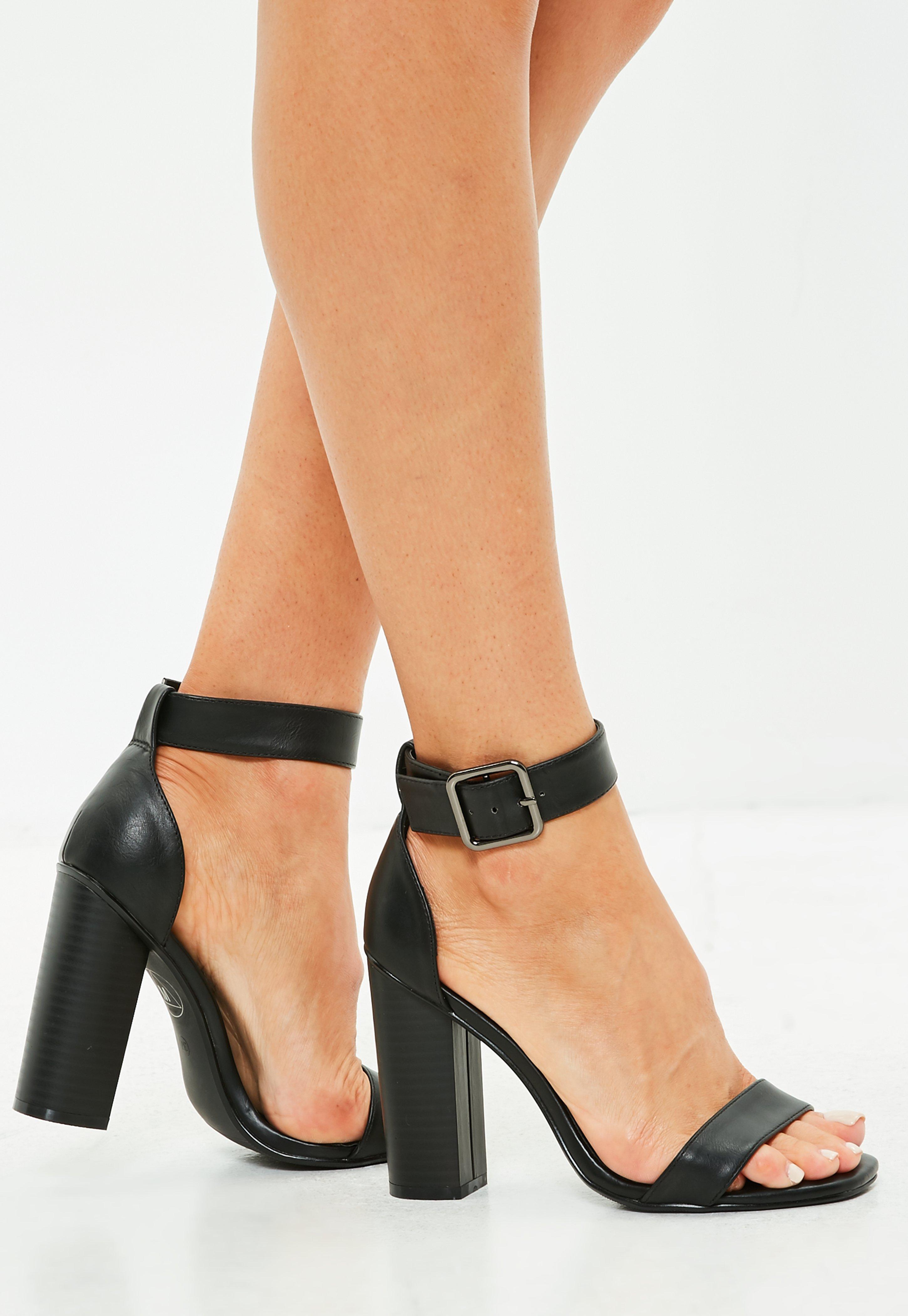 97a3988ea3b Lyst - Missguided Black Big Buckle Block Heeled Sandals in Black