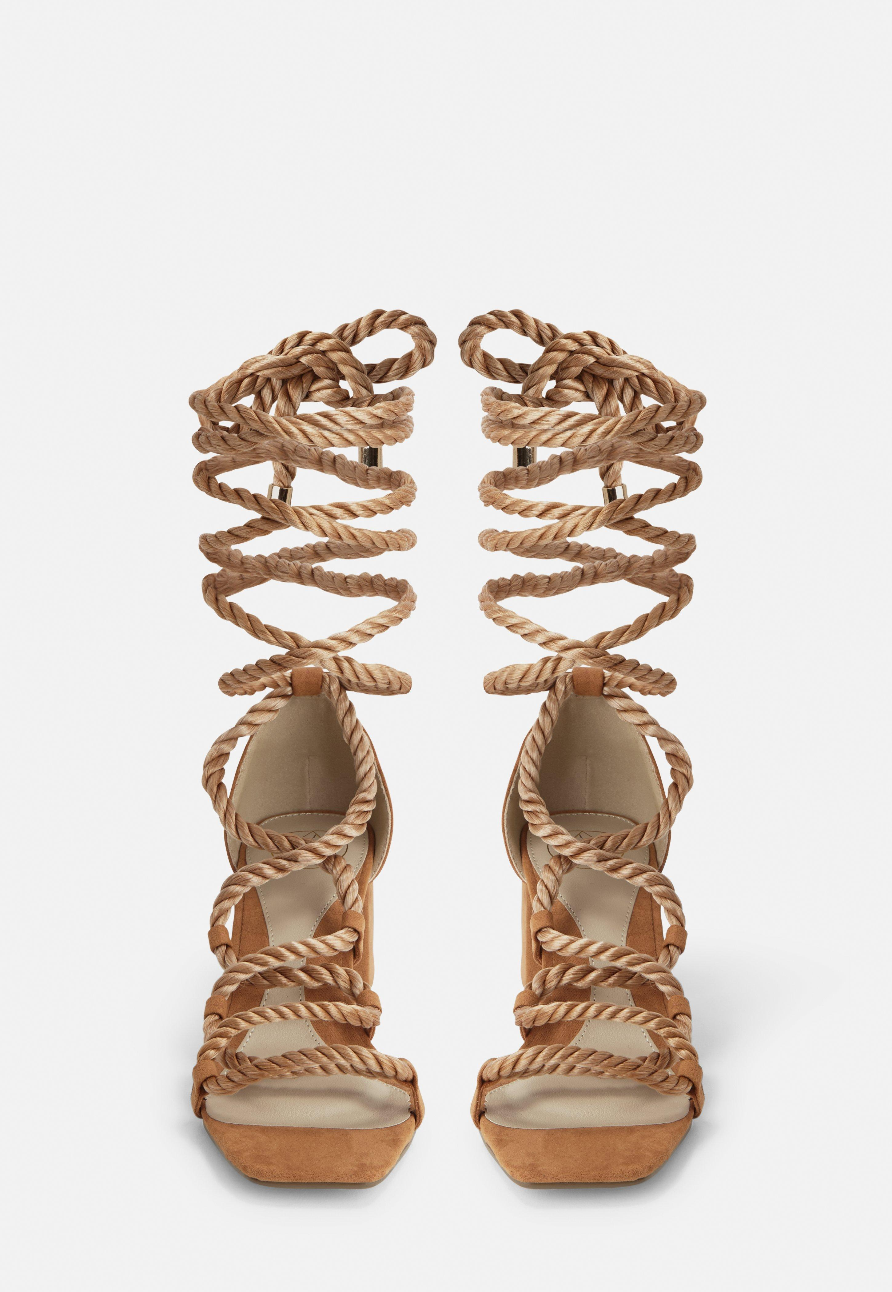 9ed07f3d86fb Missguided - Brown Tan Rope Lace Up Mid Heeled Sandals - Lyst. View  fullscreen