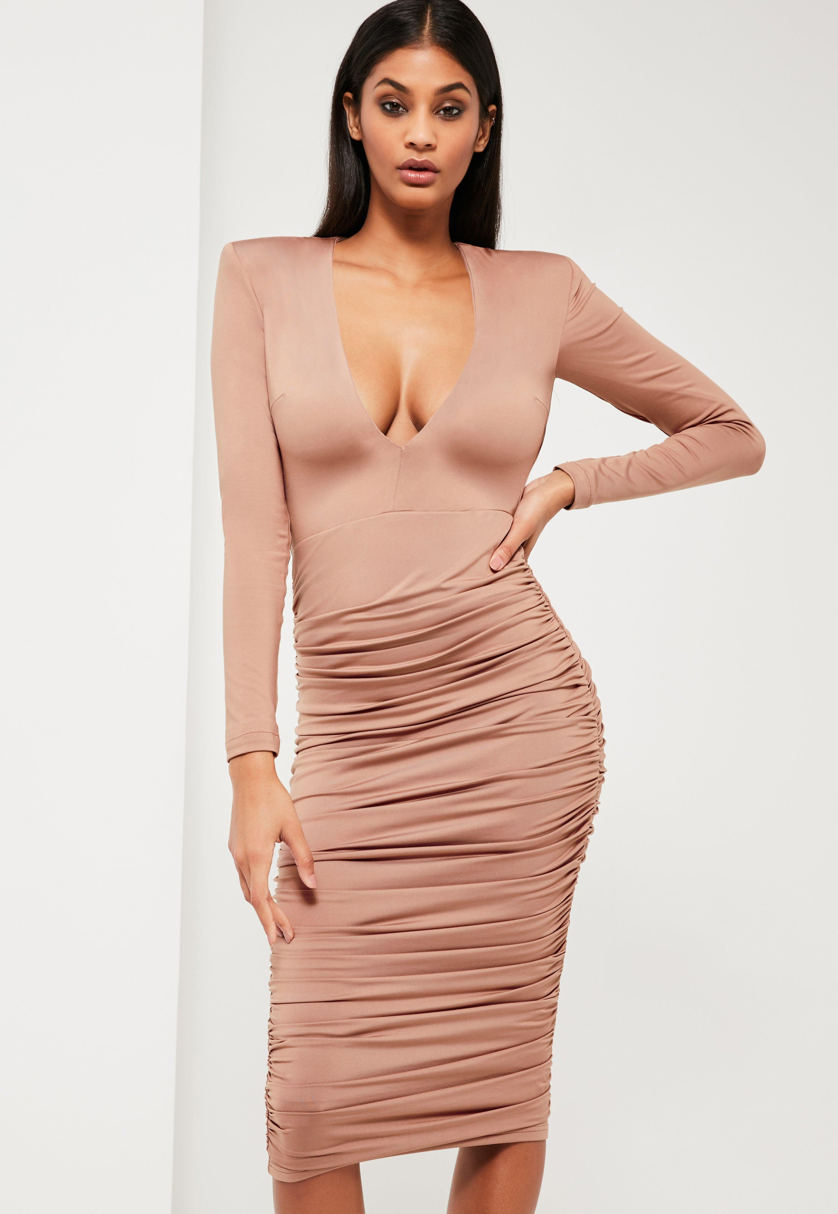 ba19e5d663 Missguided Peace + Love Nude Ruched Plunge Neck Midi Dress in ...