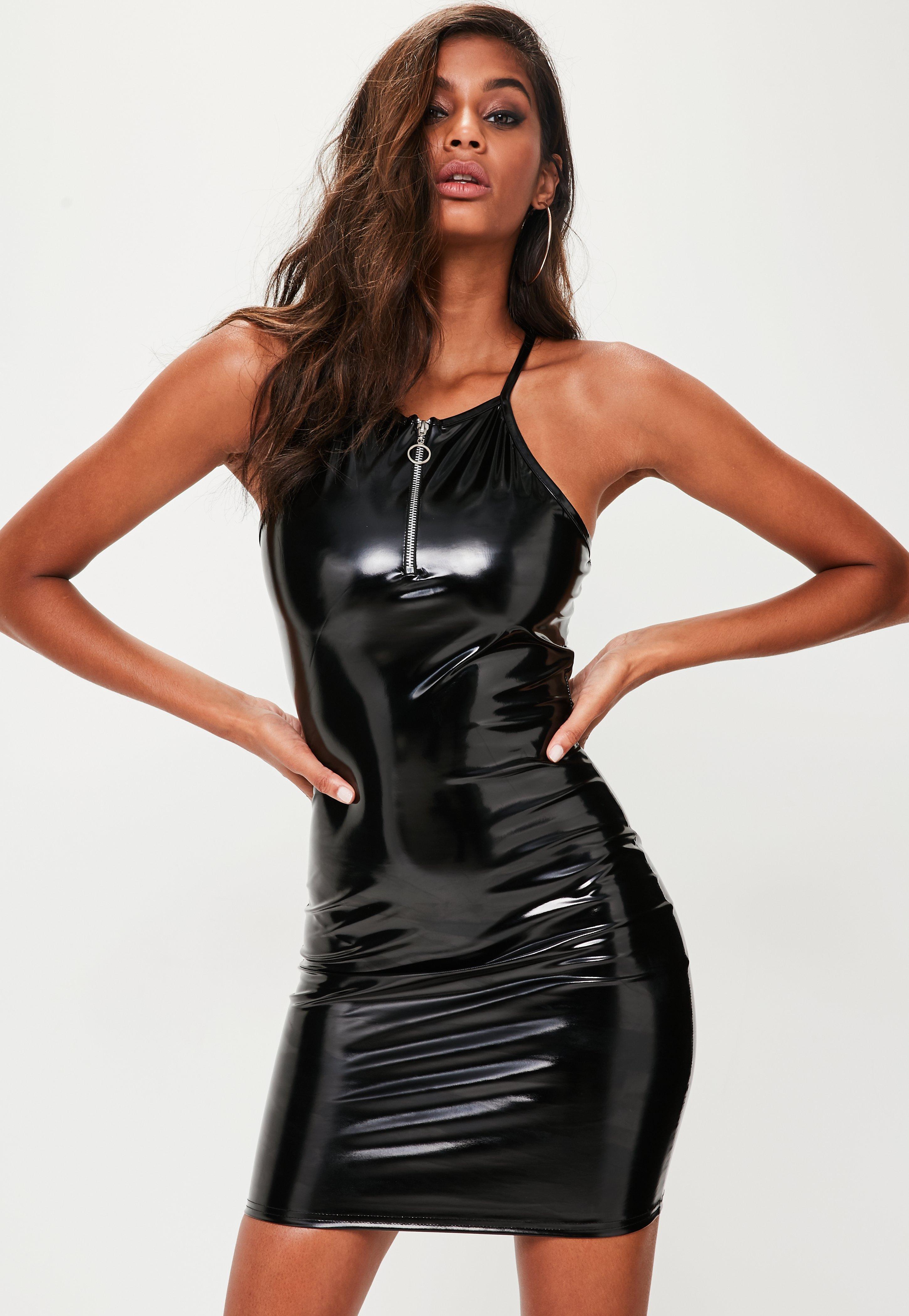 Long Black Vinyl Dress