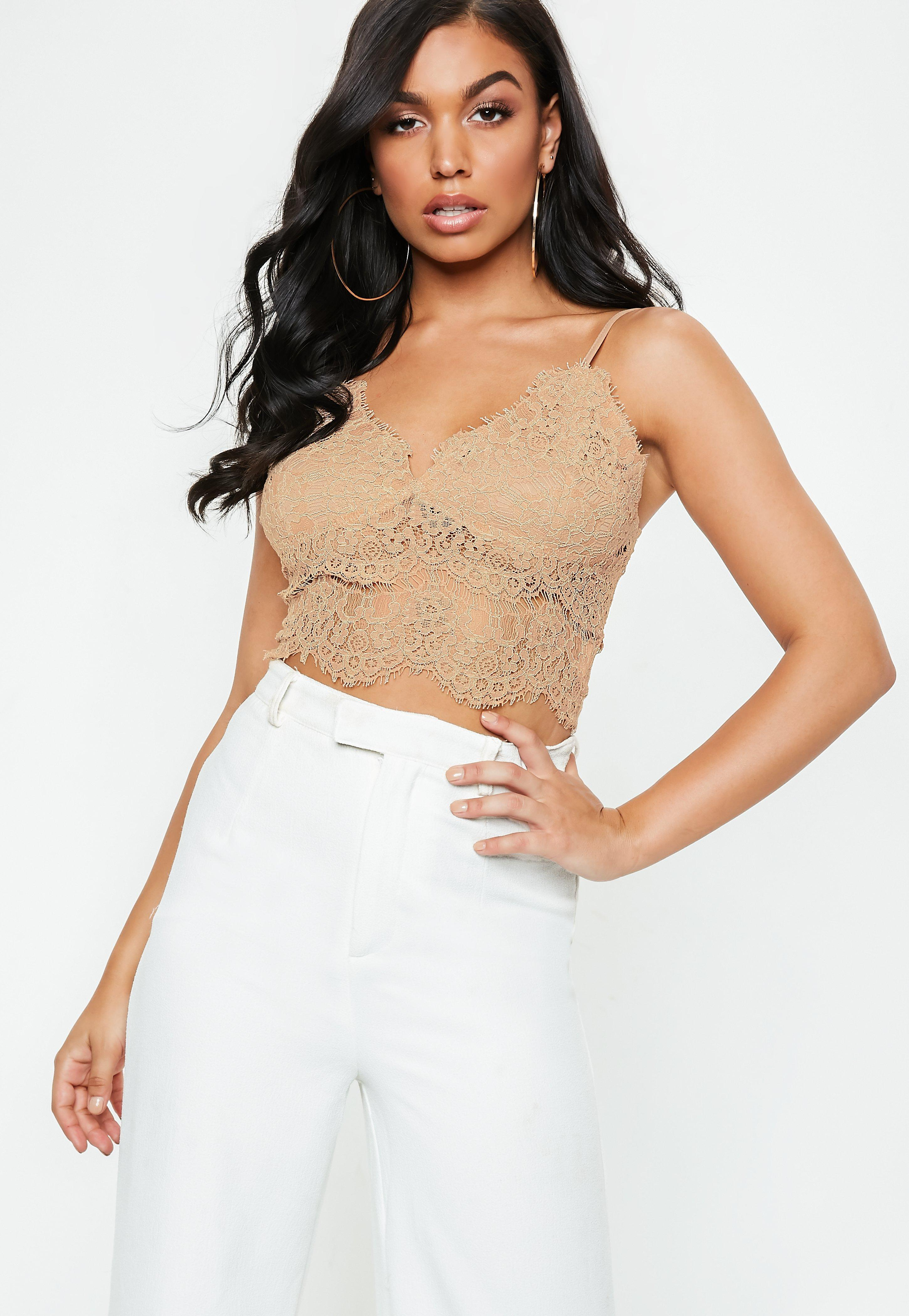 911b301f95 Lyst - Missguided Nude Corded Lace Cami Top in Natural