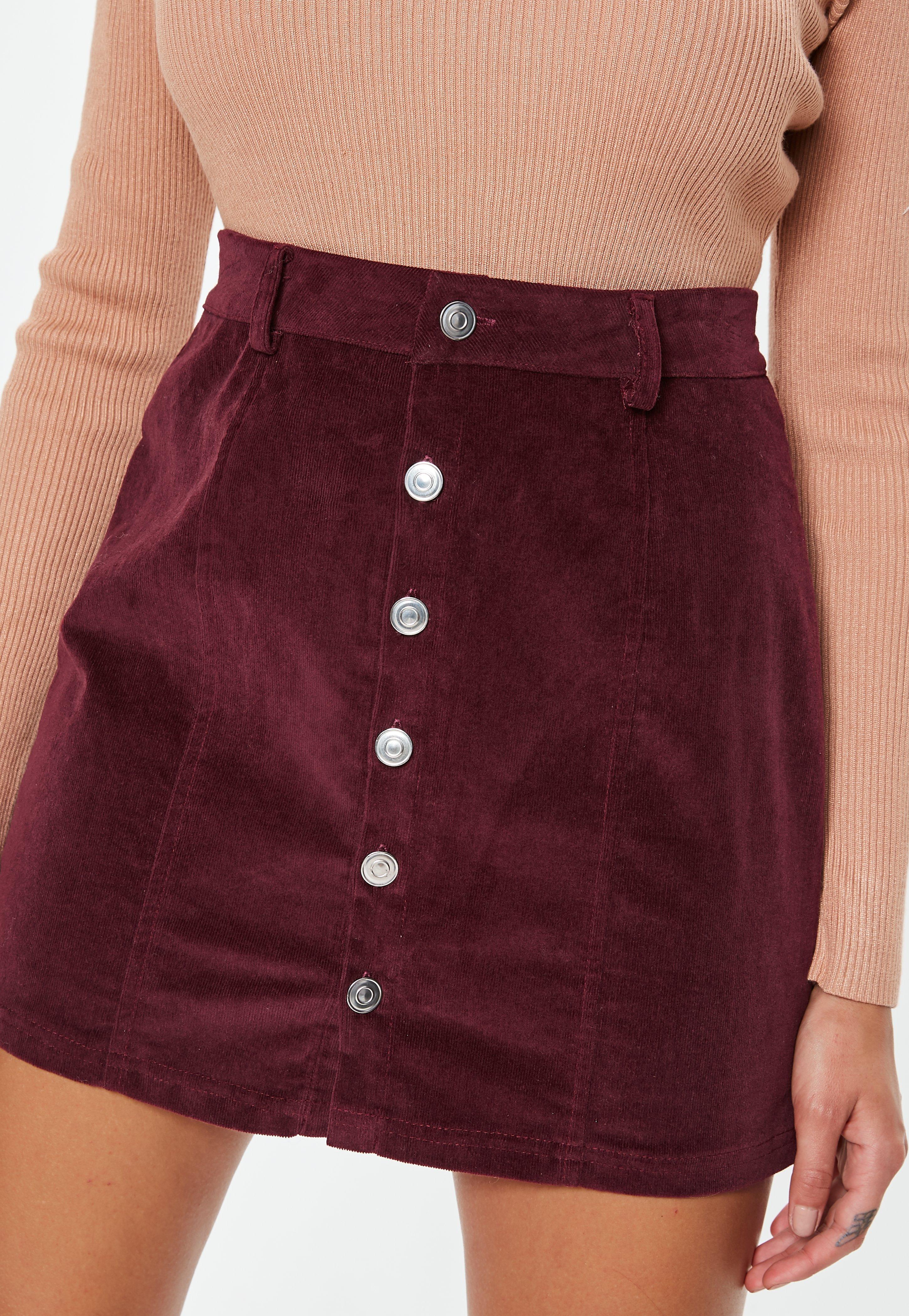 247fc9d5bd Missguided - Purple Plum Cord Button Mini Skirt - Lyst. View fullscreen