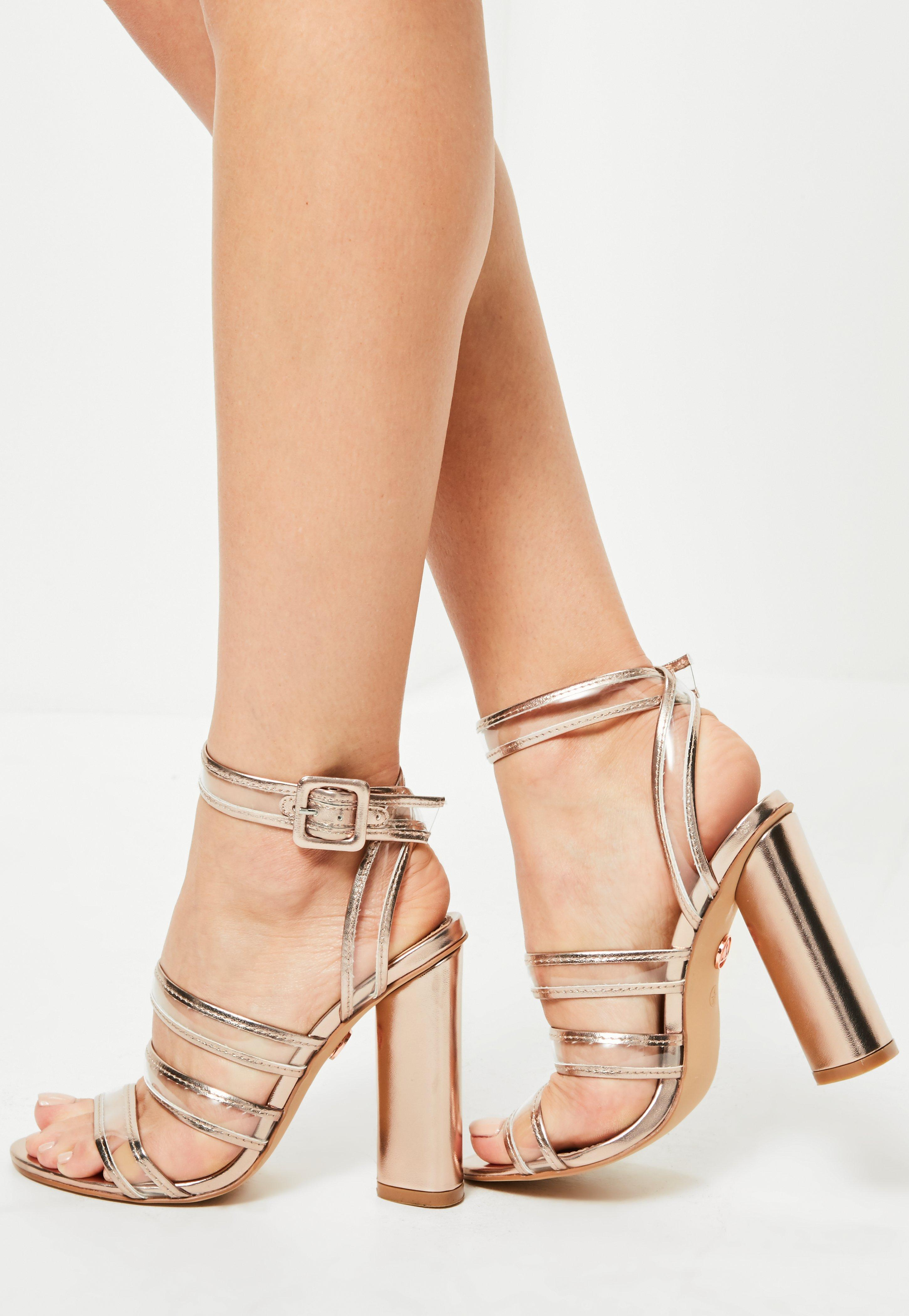 c2a2b84b918 Lyst - Missguided Rose Gold Clear Multi Strap Block Heeled Sandals ...
