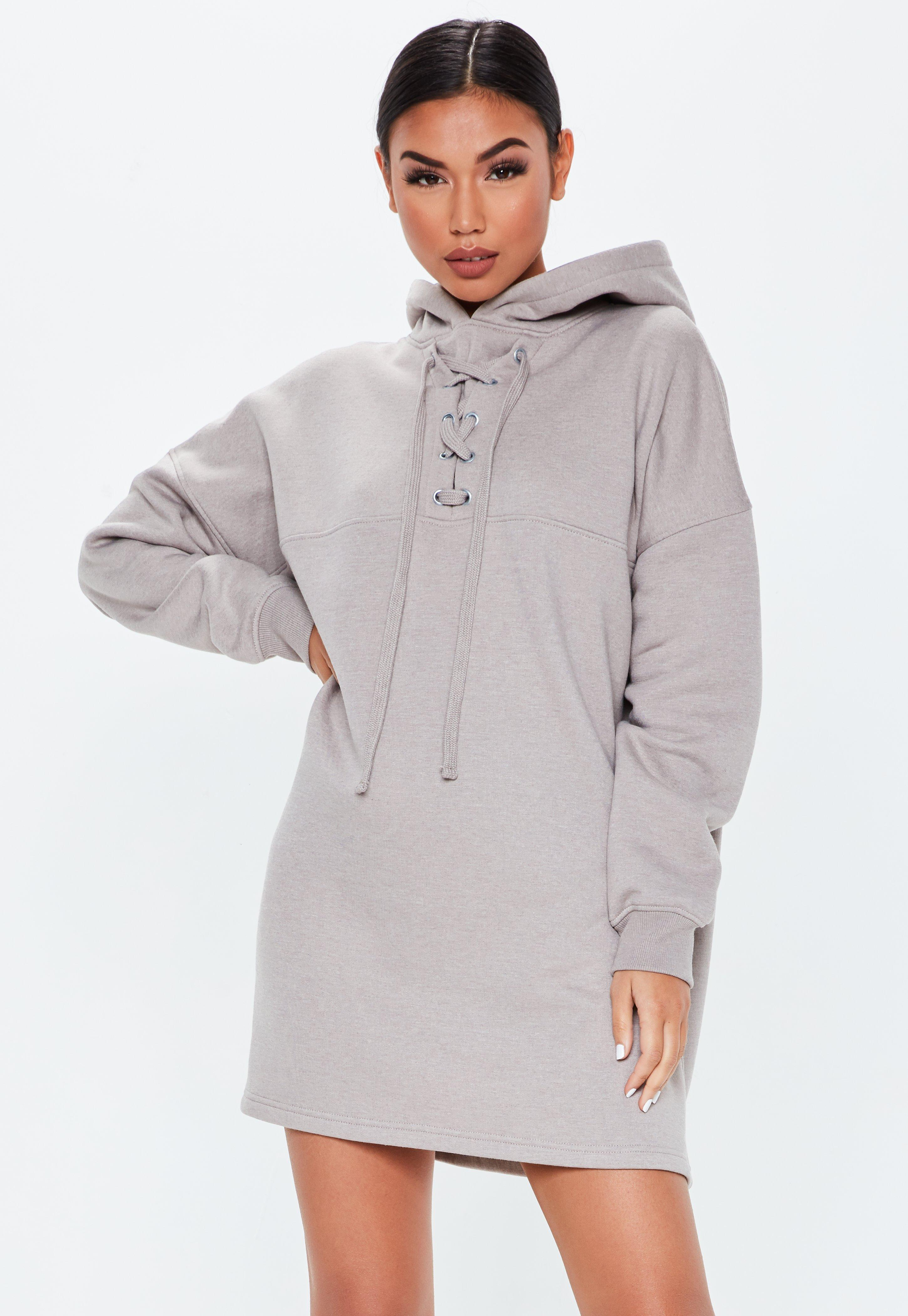 Lyst - Missguided Grey Lace Up Pocket Front Hoodie Dress in Gray e261f057a