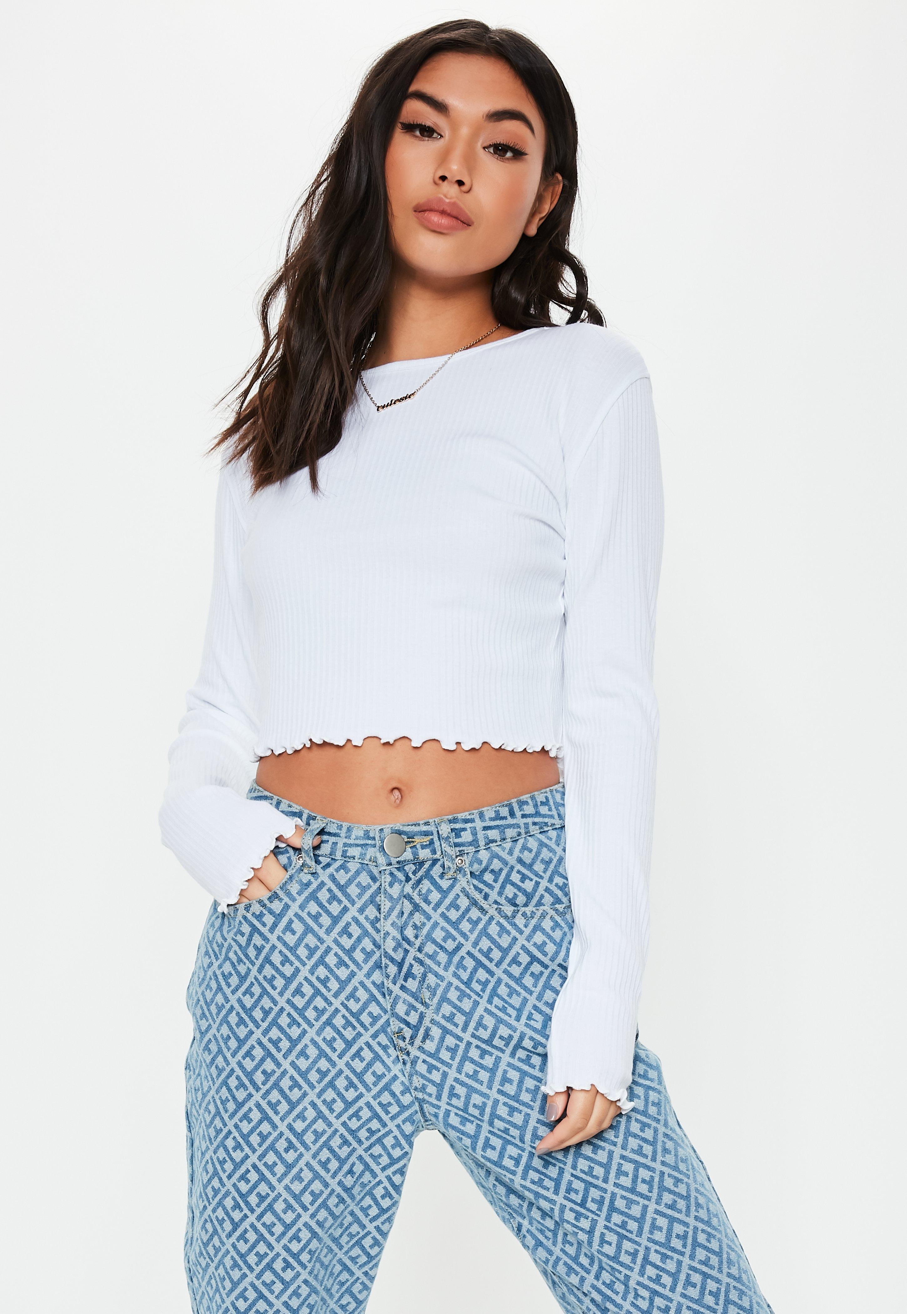 eb6c4a6c65005 Missguided - White Lettuce Hem Ribbed Long Sleeve Crop Top - Lyst. View  fullscreen