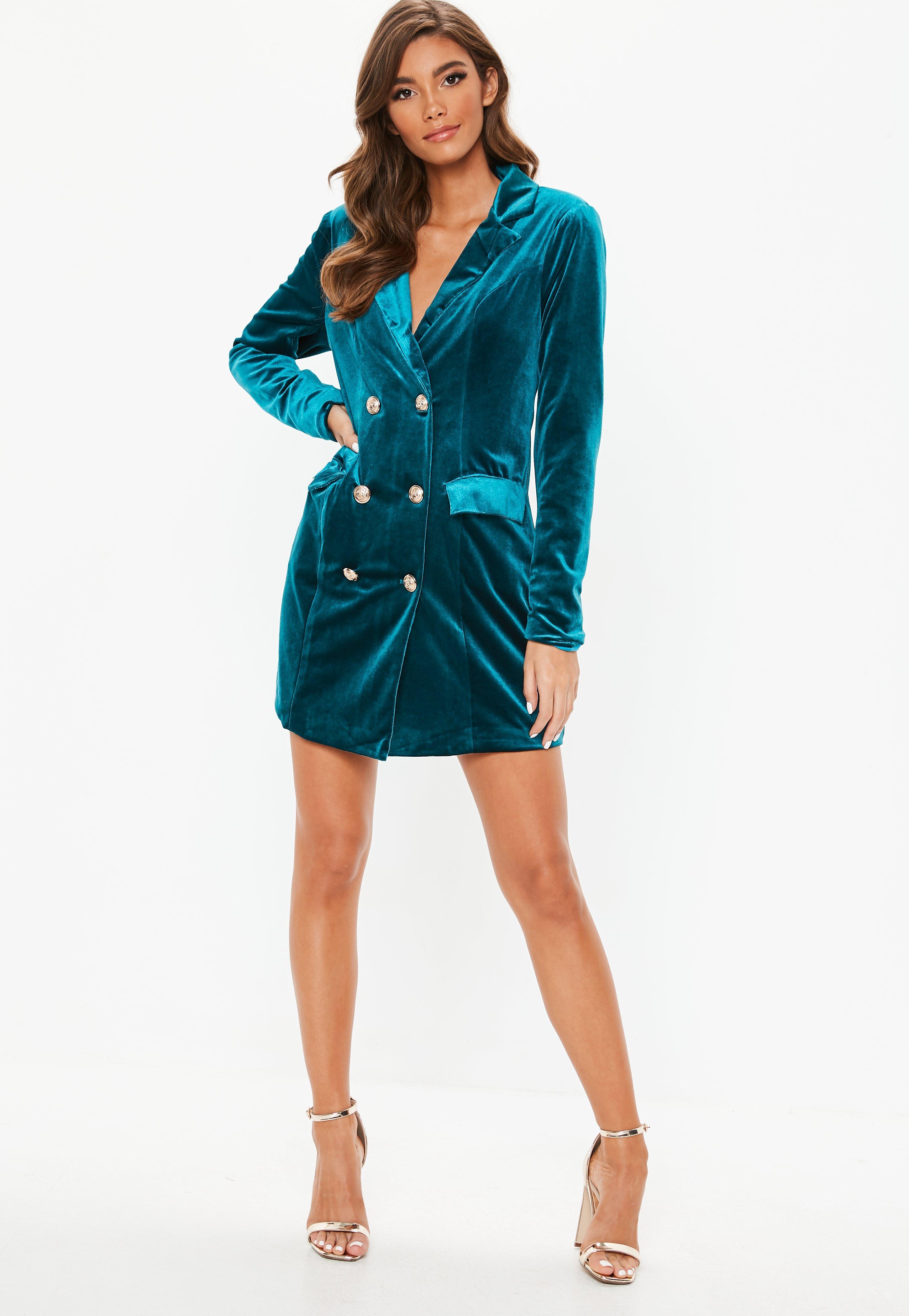 66d48e53c579 Missguided - Blue Teal Velvet Double Breasted Blazer Dress - Lyst. View  fullscreen