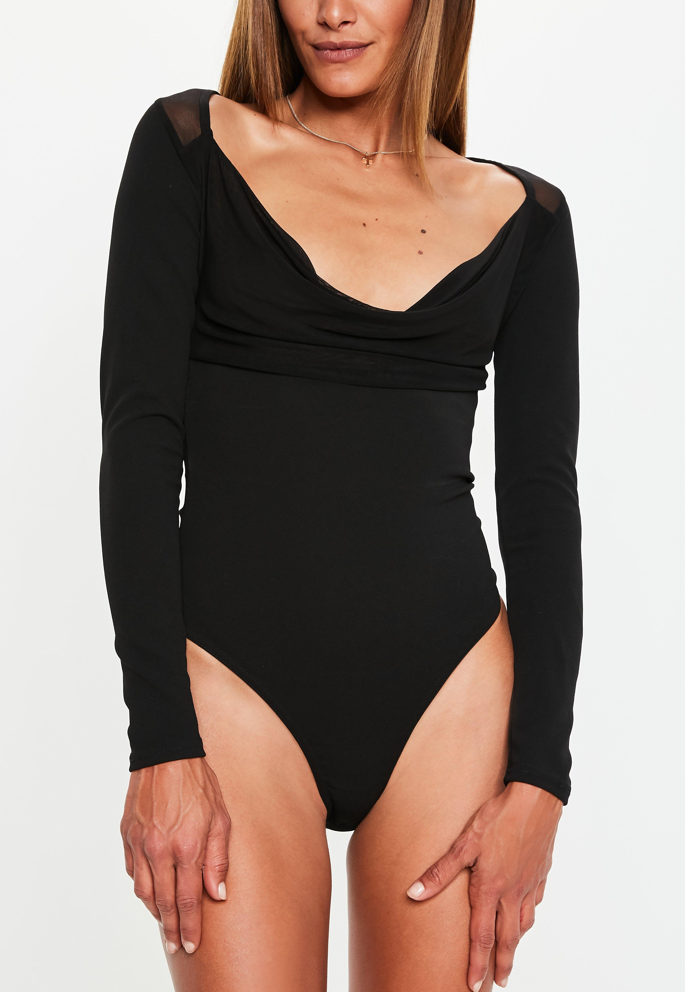 533a202e96 Missguided - Black Mesh Cowl Neck Bodysuit - Lyst. View fullscreen