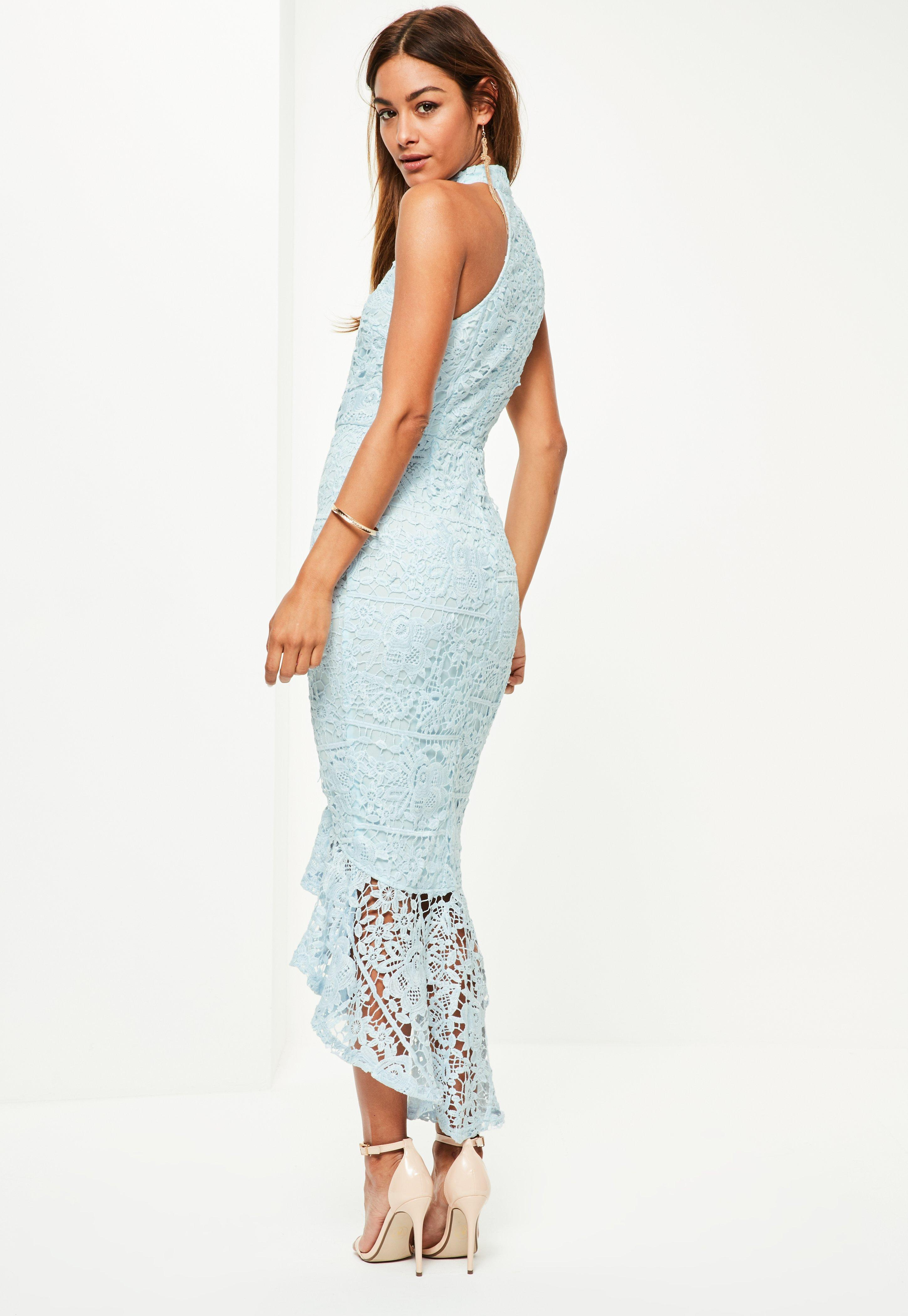 c1aca989f5c5 Missguided Blue Lace High Neck Fishtail Midi Dress in Blue - Lyst
