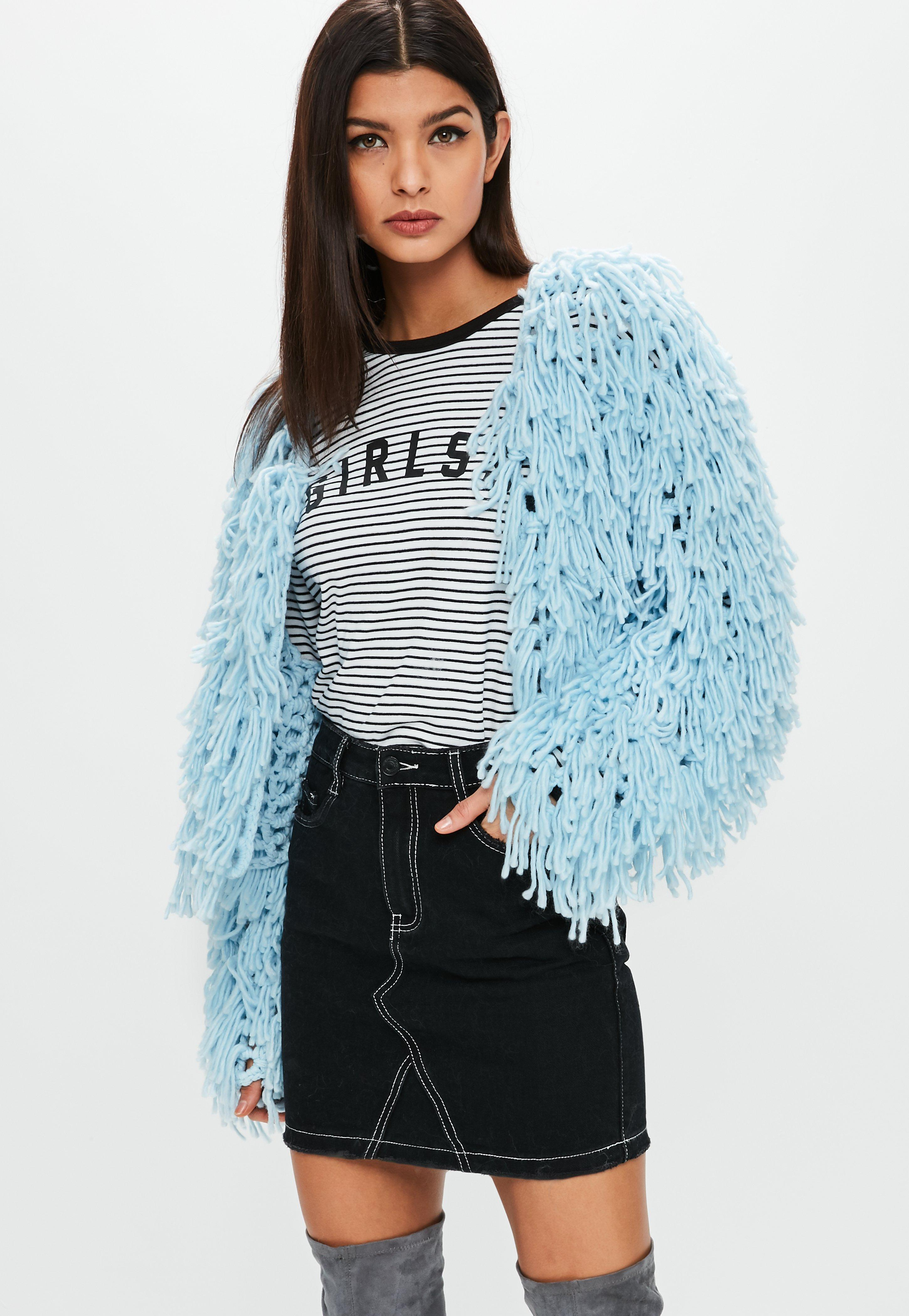b16d3cbee Lyst - Missguided Premium Pastel Blue Shaggy Cropped Cardigan in Blue
