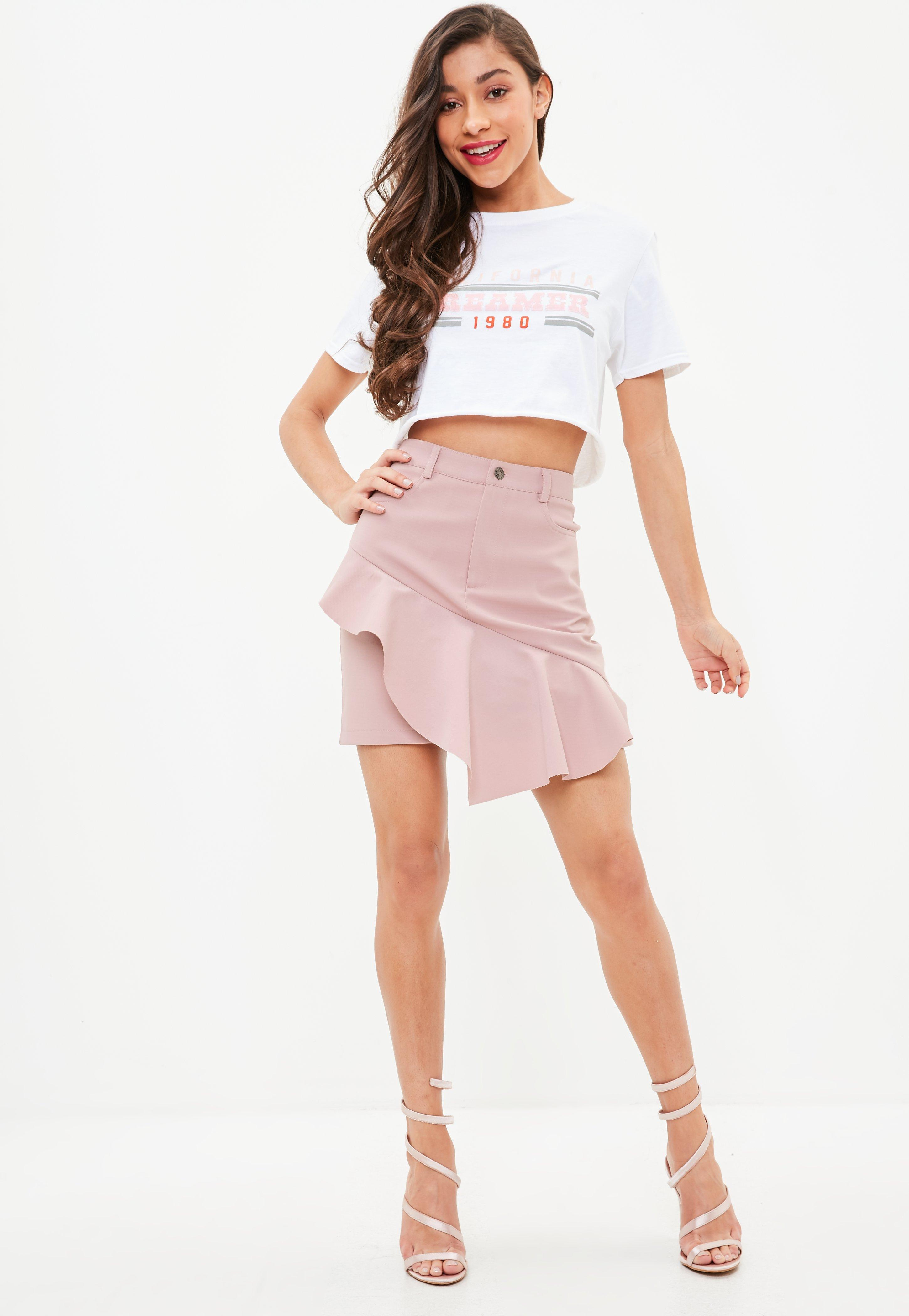 Clearance Sale Online Clearance Online Official Site Missguided Bonded Crepe Asymmetric Frill Mini Skirt Big Sale For Sale eIMx6U