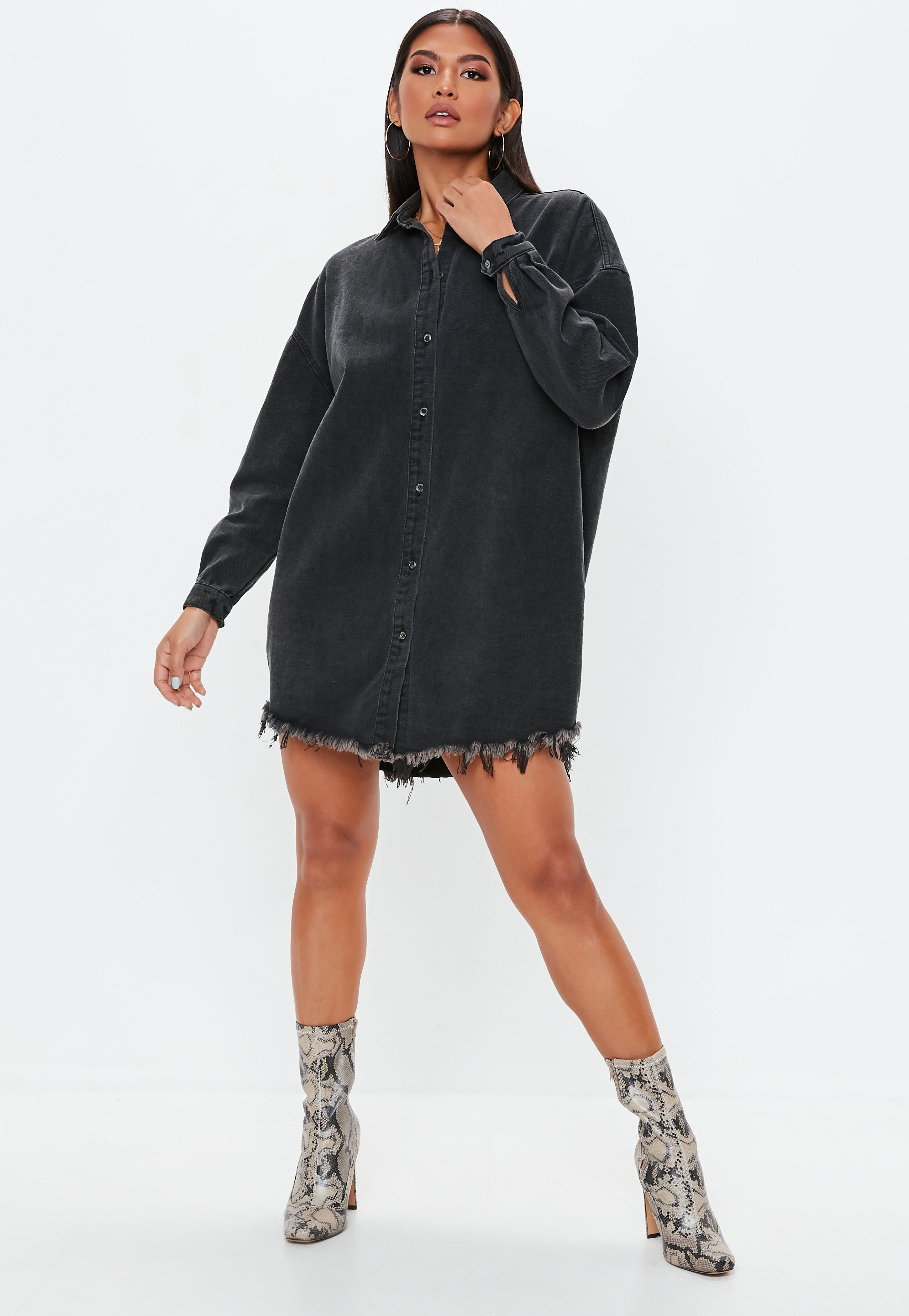 b2b166a770c Missguided - Black Oversized Denim Shirt Dress - Lyst. View fullscreen