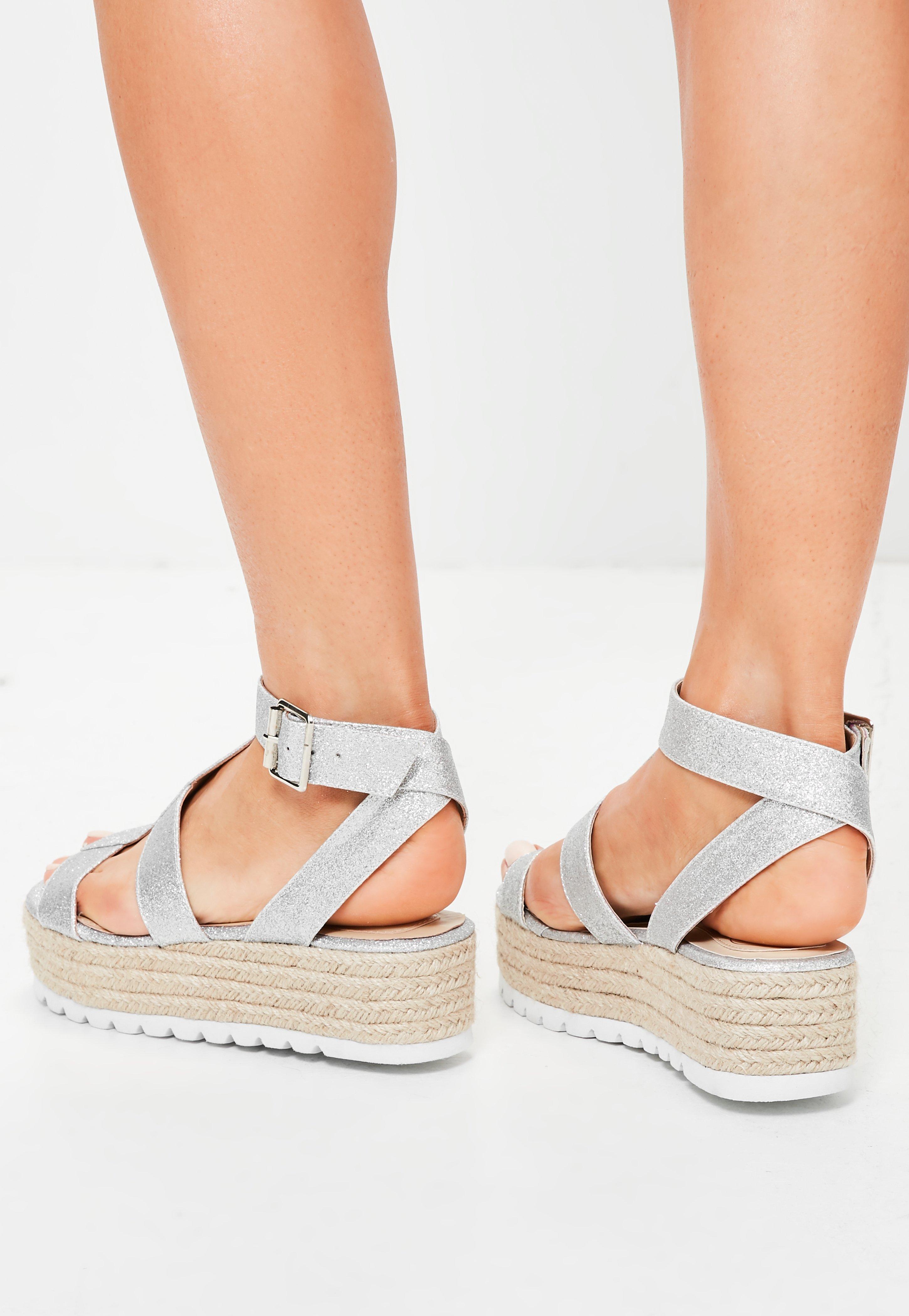 837435944f1f Lyst - Missguided Silver Glitter Platform Gladiator Sandals in Metallic