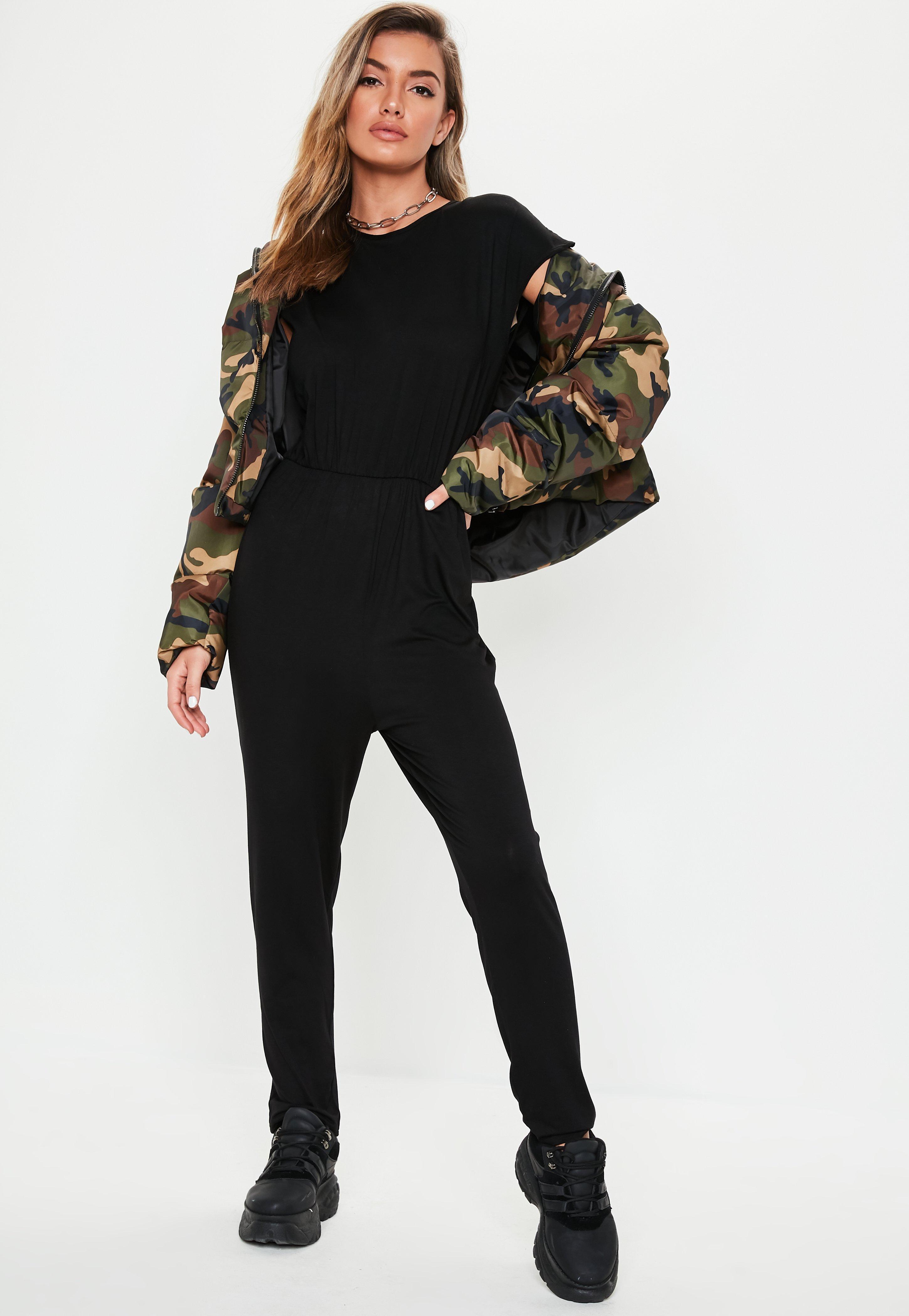 c7f5ed4e8f3 Missguided - Black Cap Sleeve Jersey Jumpsuit - Lyst. View fullscreen